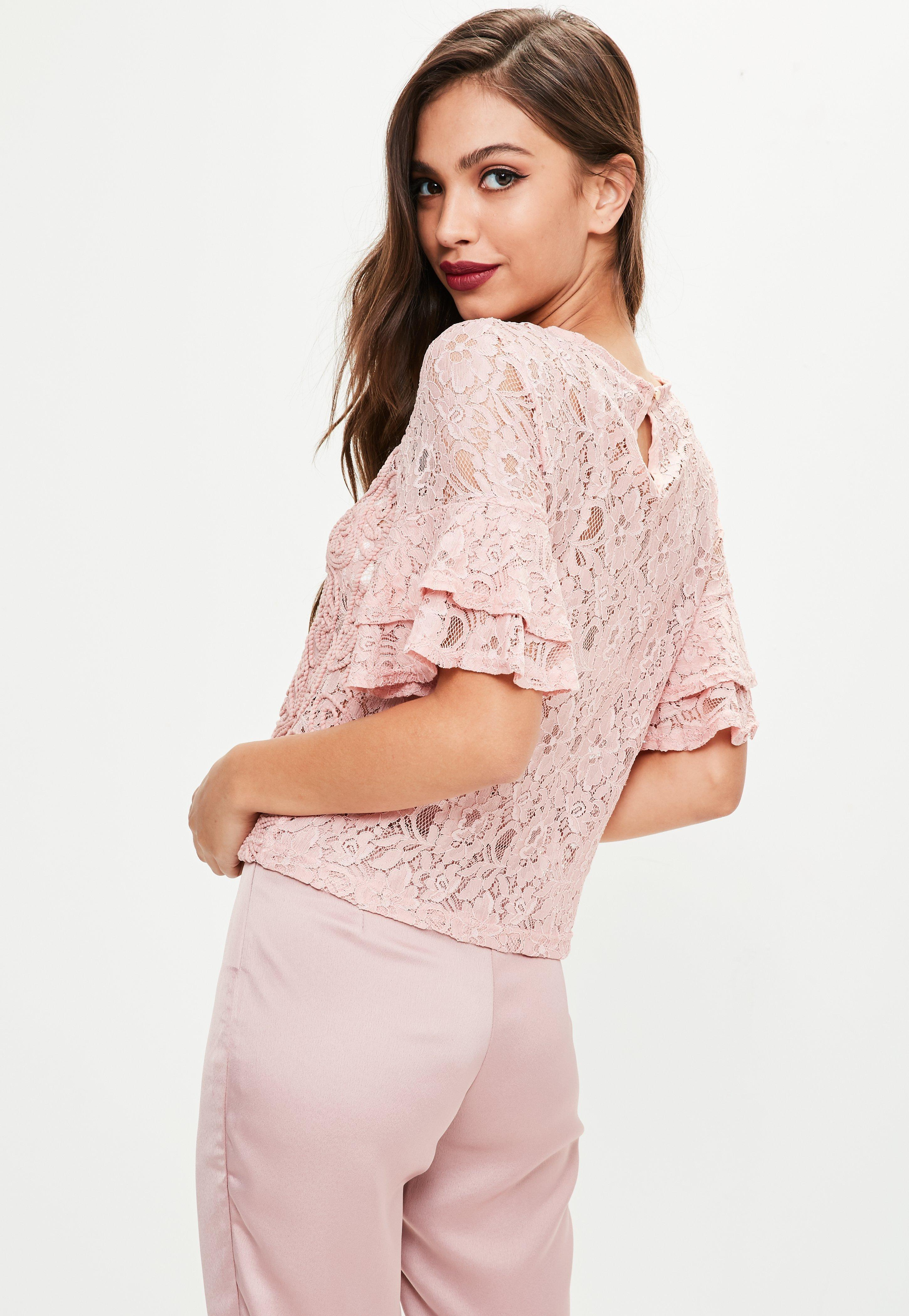 Lyst - Missguided Pink Lace Top in Pink