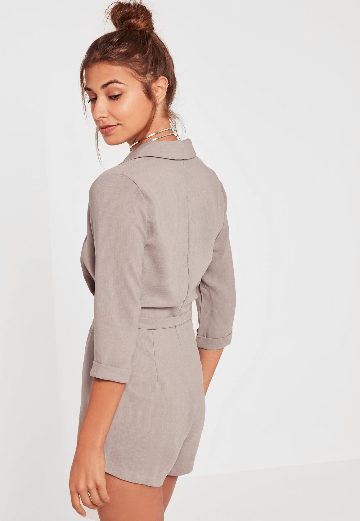 fa9d315672 Lyst - Missguided Grey Wrap Blazer Playsuit in Gray