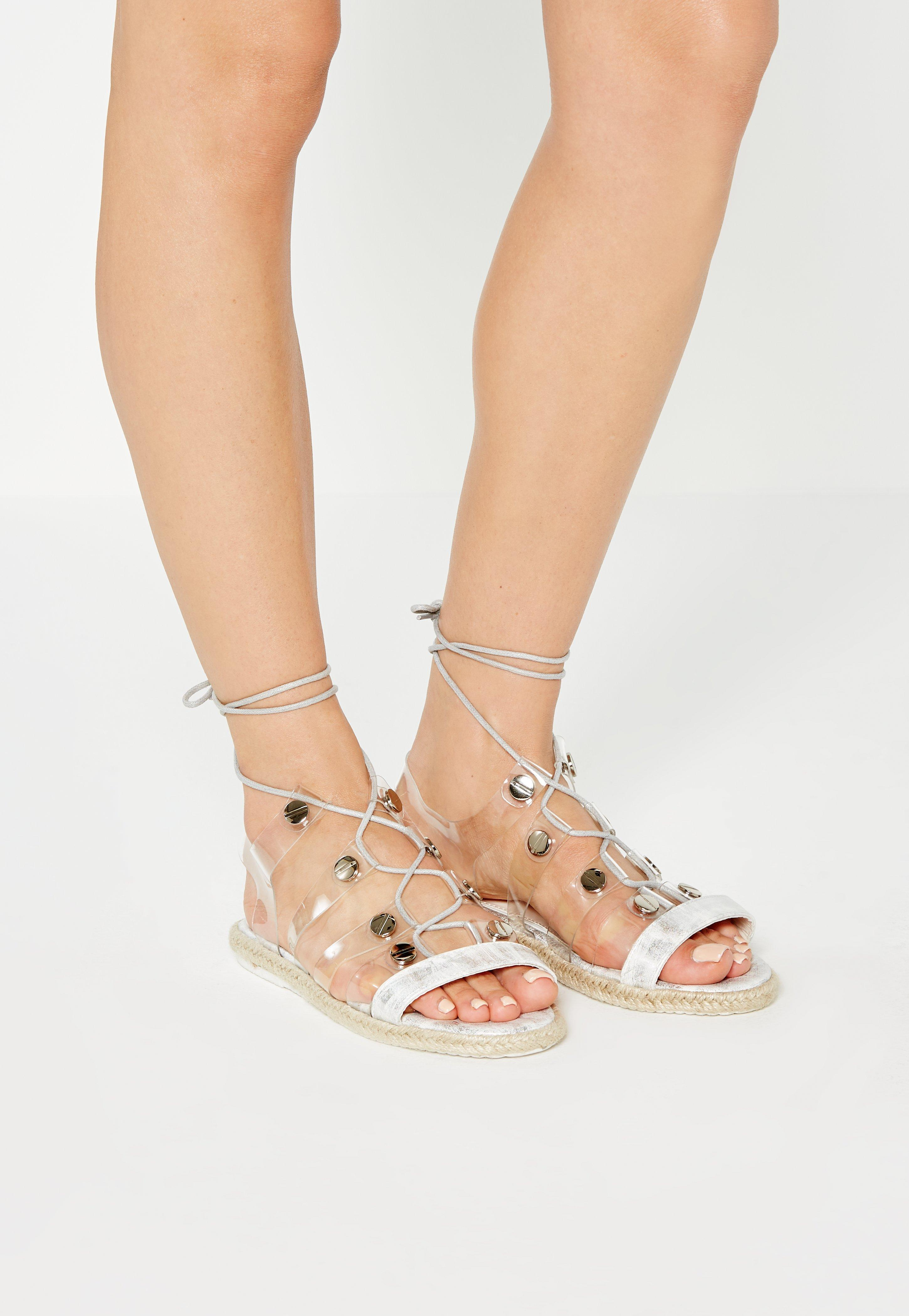 2d0e7a7cafda6 Missguided - White Transparent Straps Flat Sandals - Lyst. View fullscreen