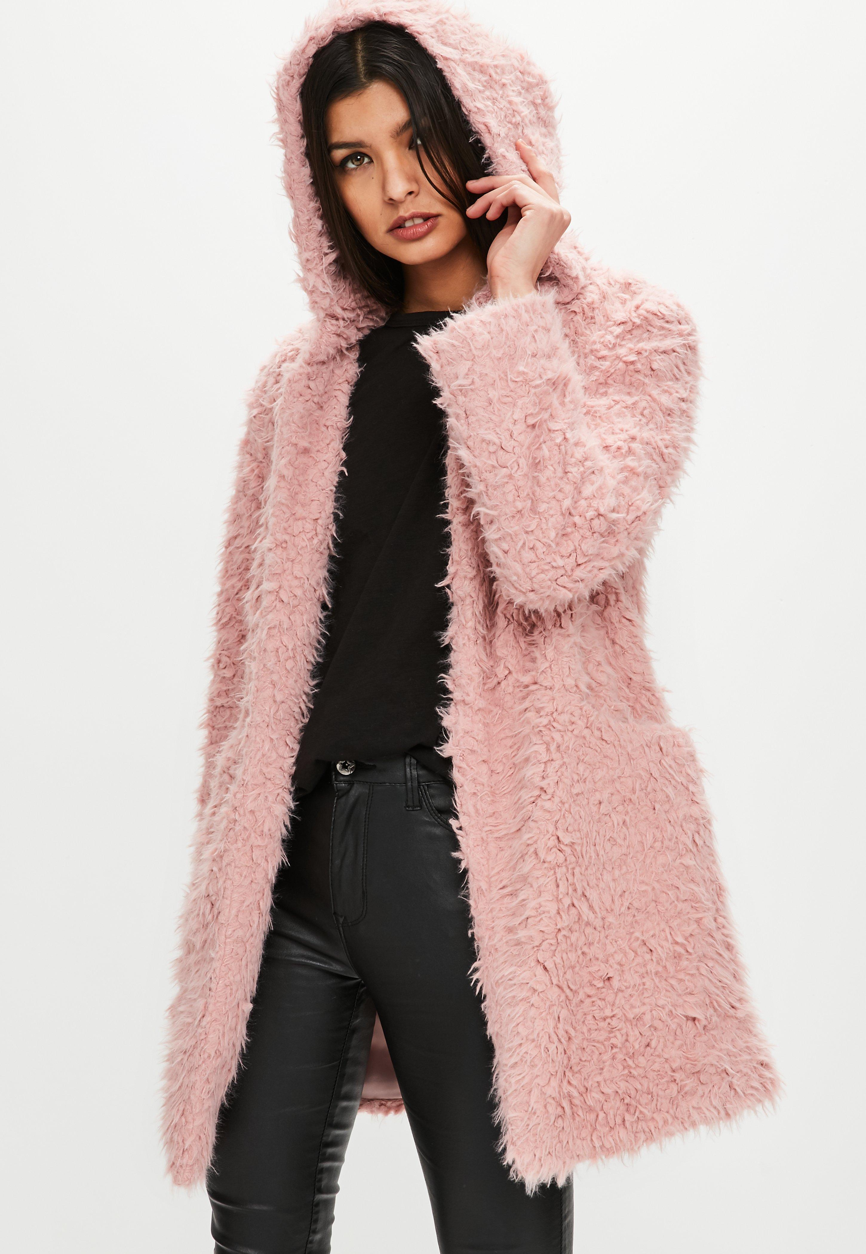 7494e5c5eed0 Missguided Pink Shaggy Longline Faux Fur Coat in Pink - Lyst