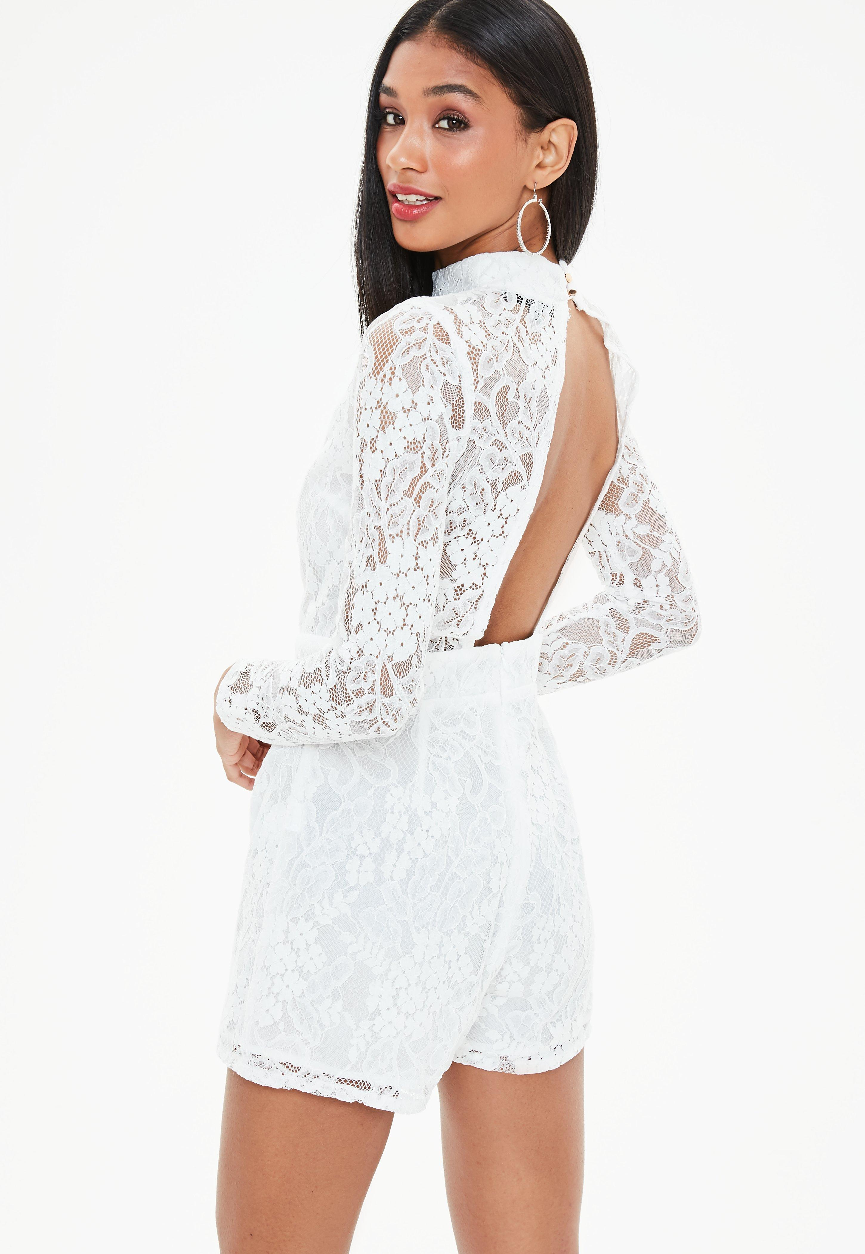 4739eed90a96 Lyst - Missguided White Corded Lace Long Sleeve Playsuit in White