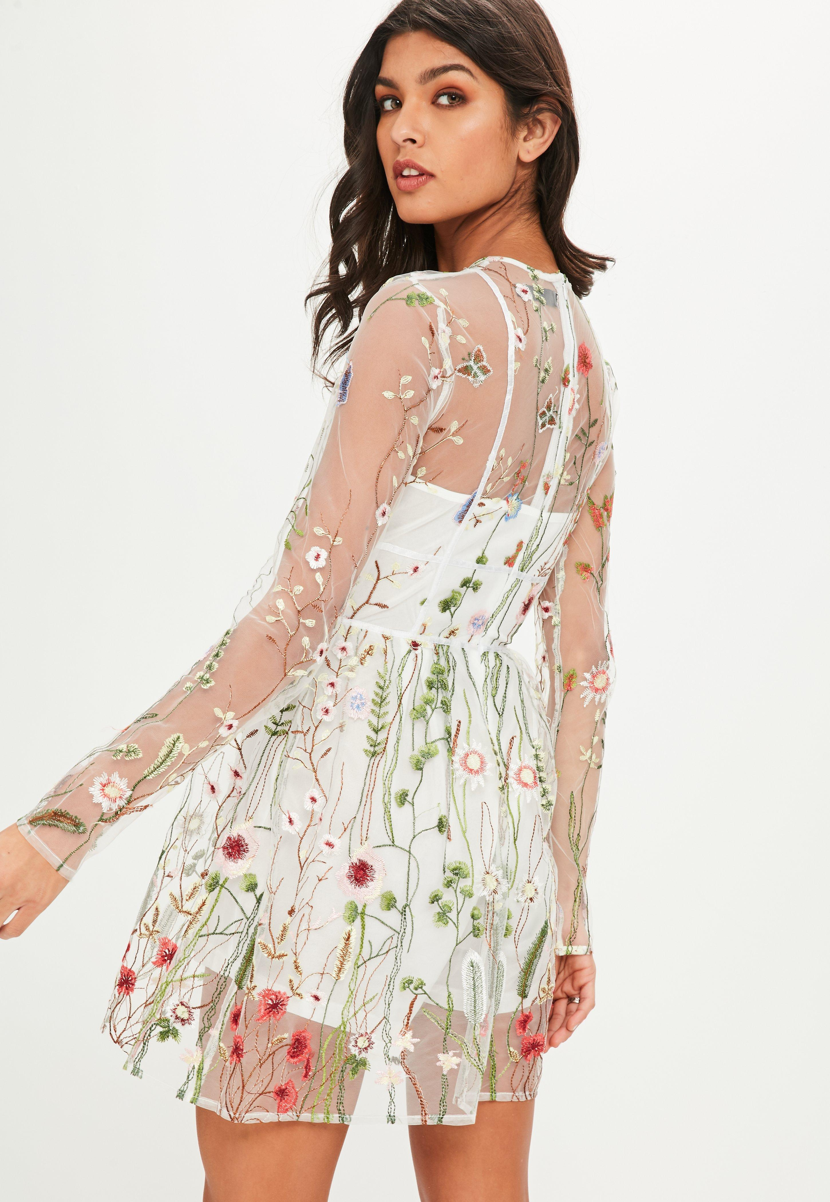 Lyst - Missguided White Floral Mesh Skater Dress in White 3eae7aaa1