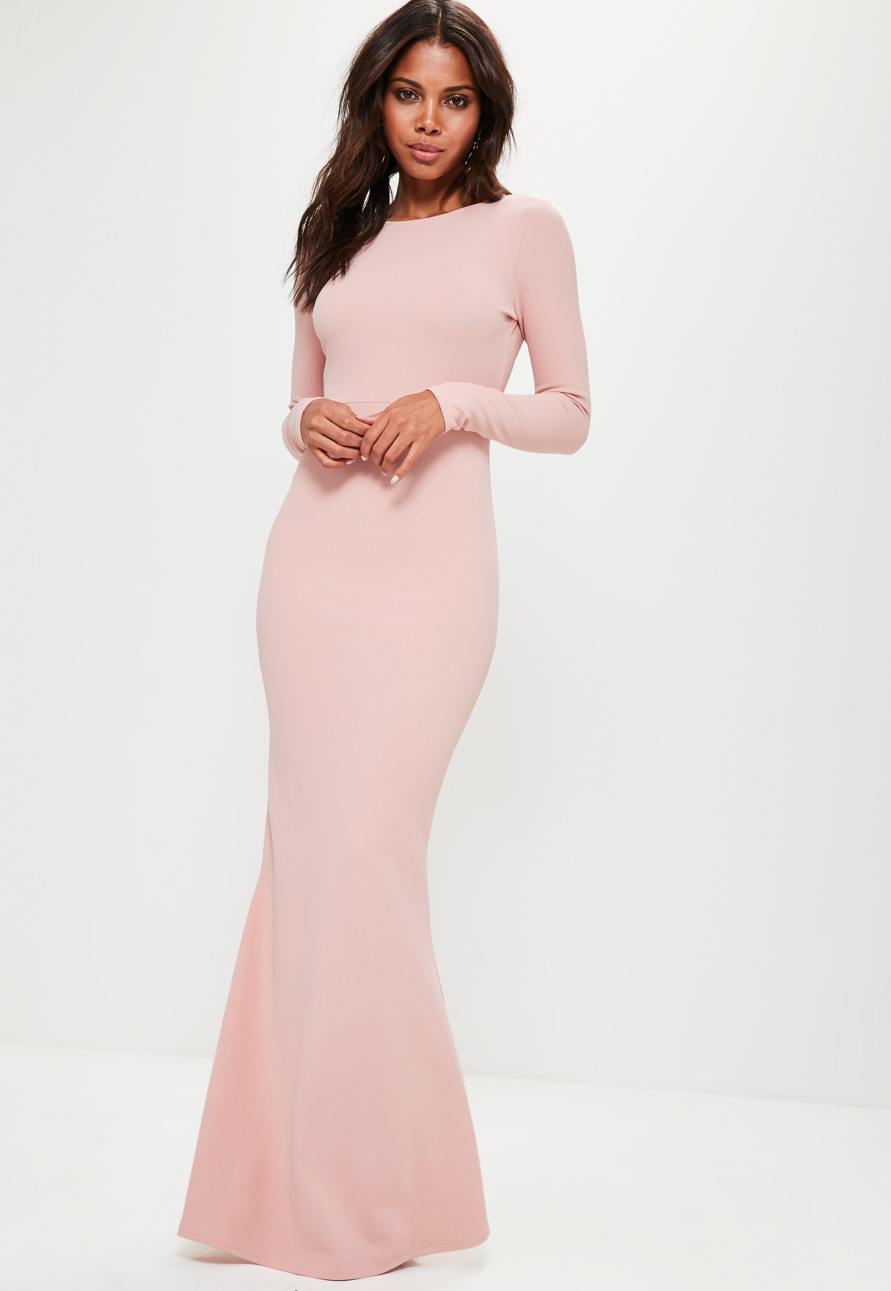 Lyst - Missguided Pink Long Sleeve Open Back Maxi Dress in Pink