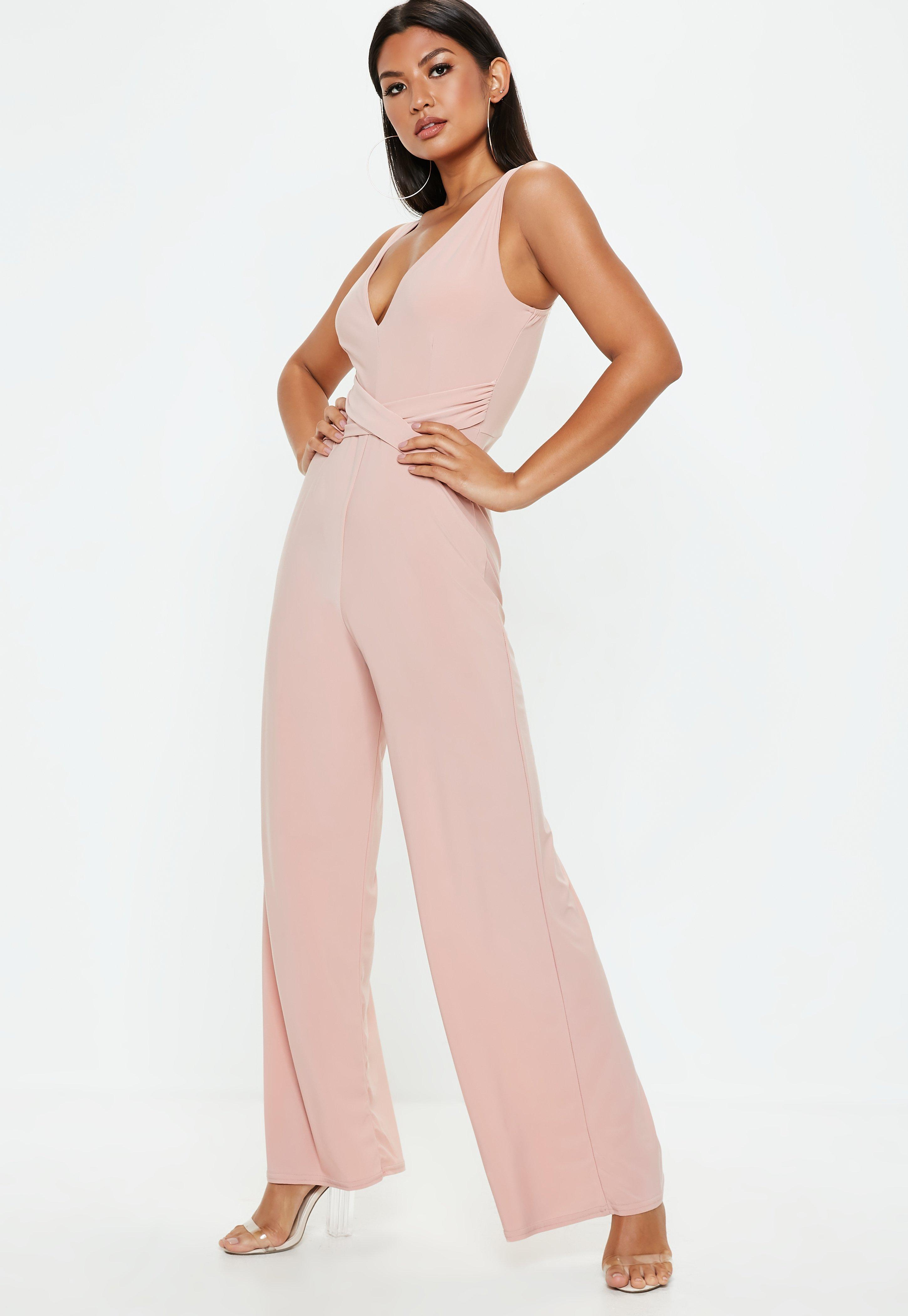 6ca1a2d230ac Lyst - Missguided Pink Slinky Cami Wide Leg Jumpsuit in Pink