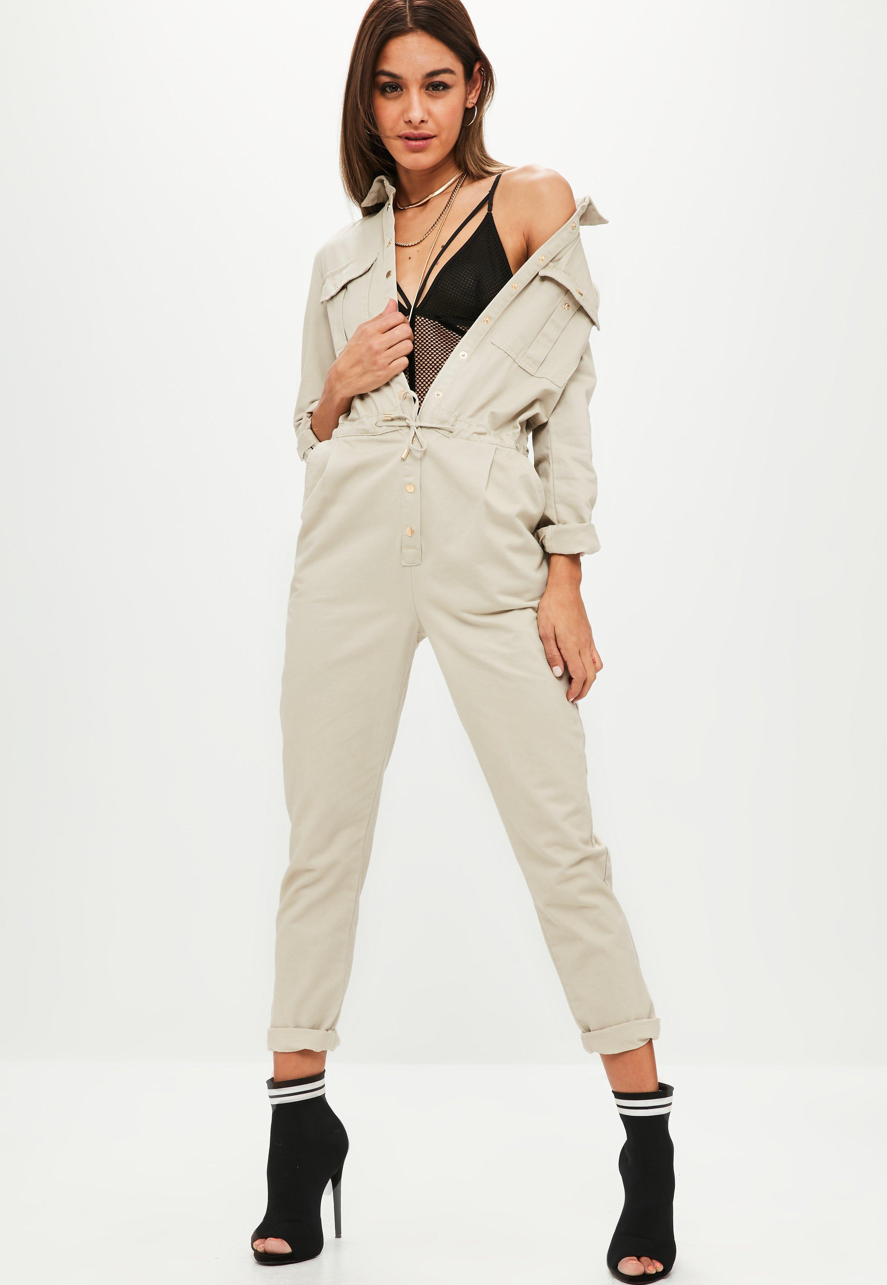036d86a057a Missguided Cream Utility Jumpsuit in Natural - Lyst