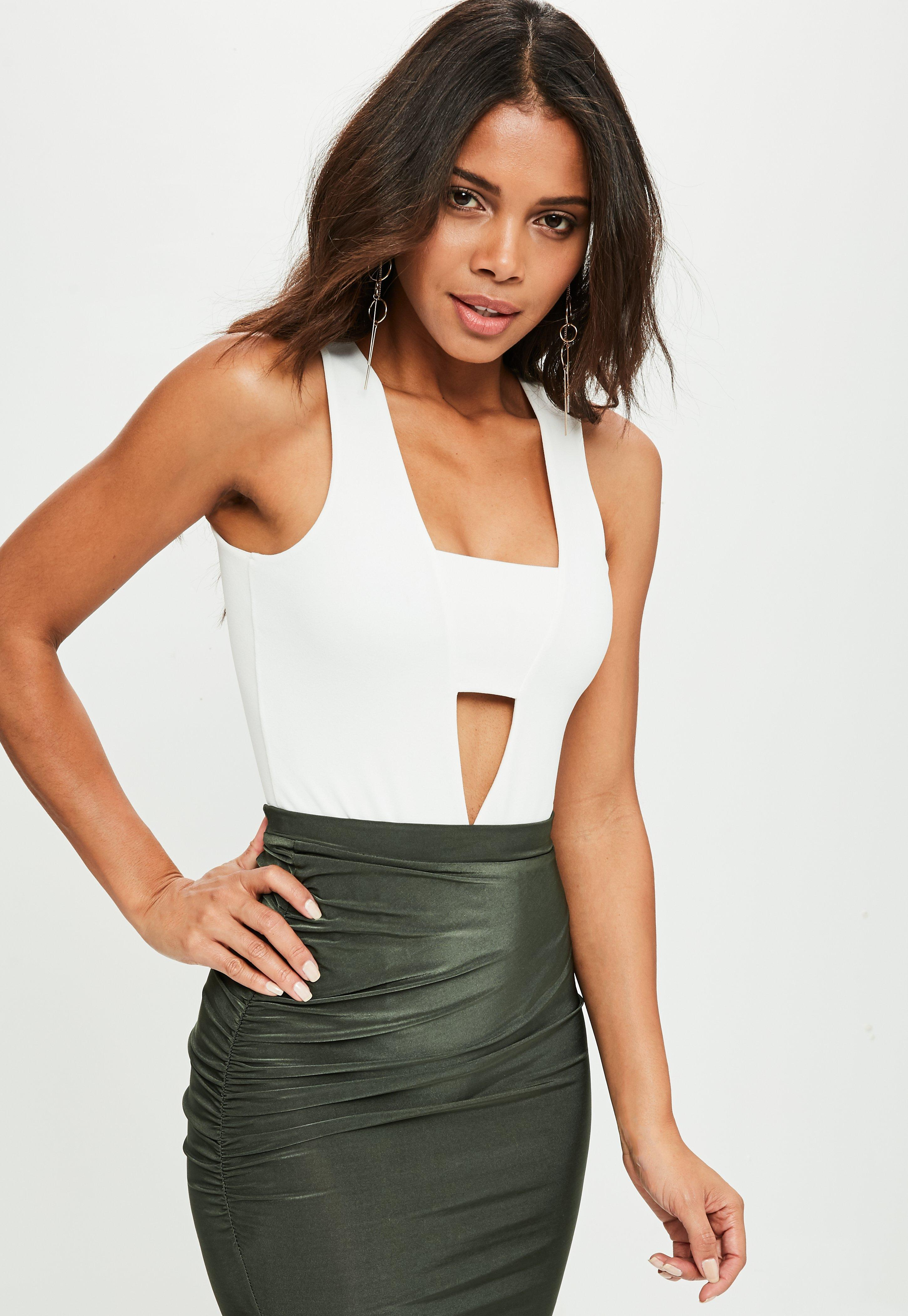 32b00f5e9d Lyst - Missguided White Crepe Panel Front Bodysuit in White - Save 28%