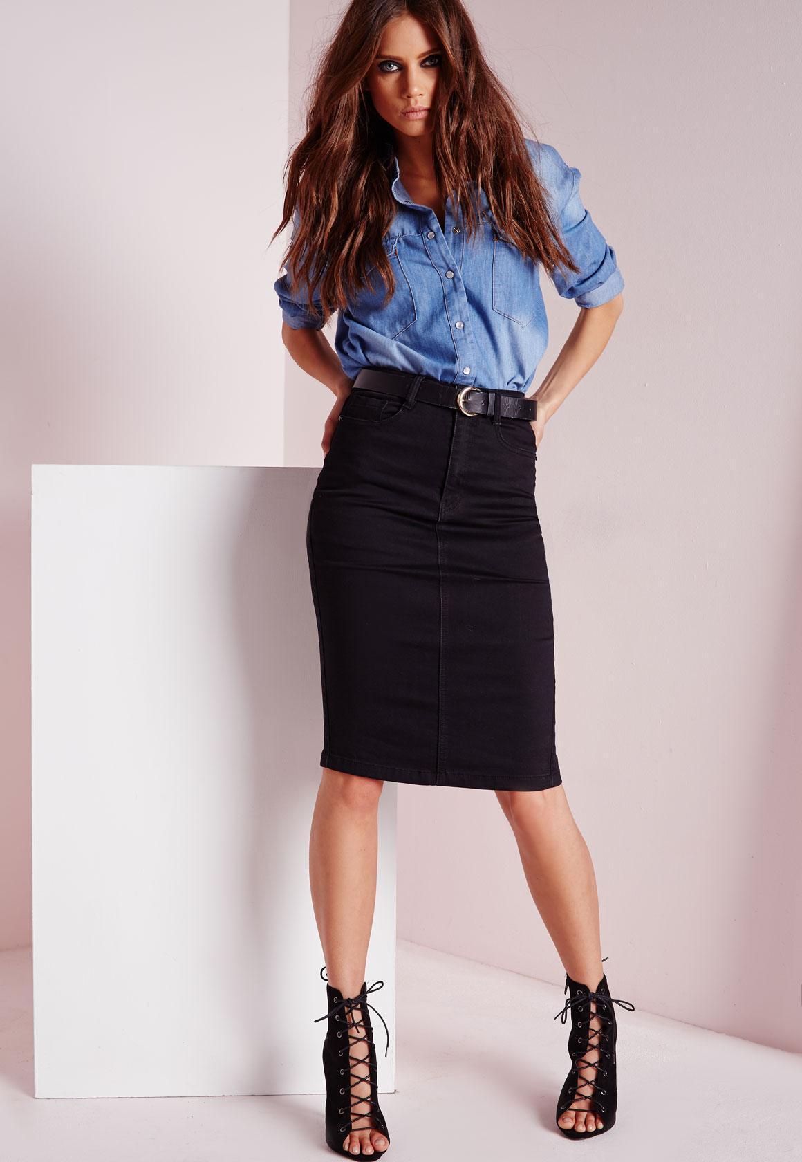 lyst  missguided high waisted midi denim skirt black in black