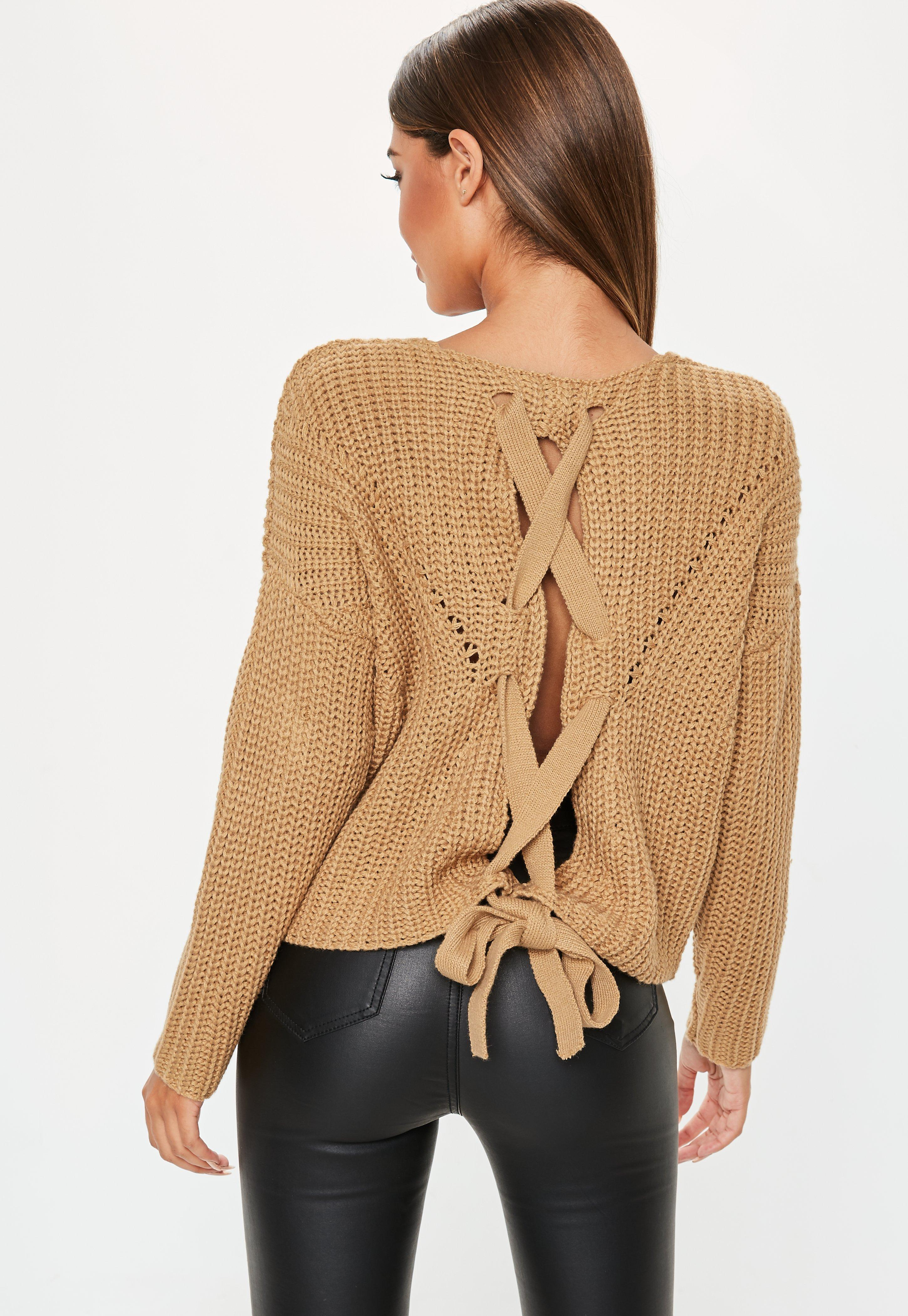 d5f1c616ee Lyst - Missguided Camel Lace Up Back Chunky Knitted Sweater in Natural