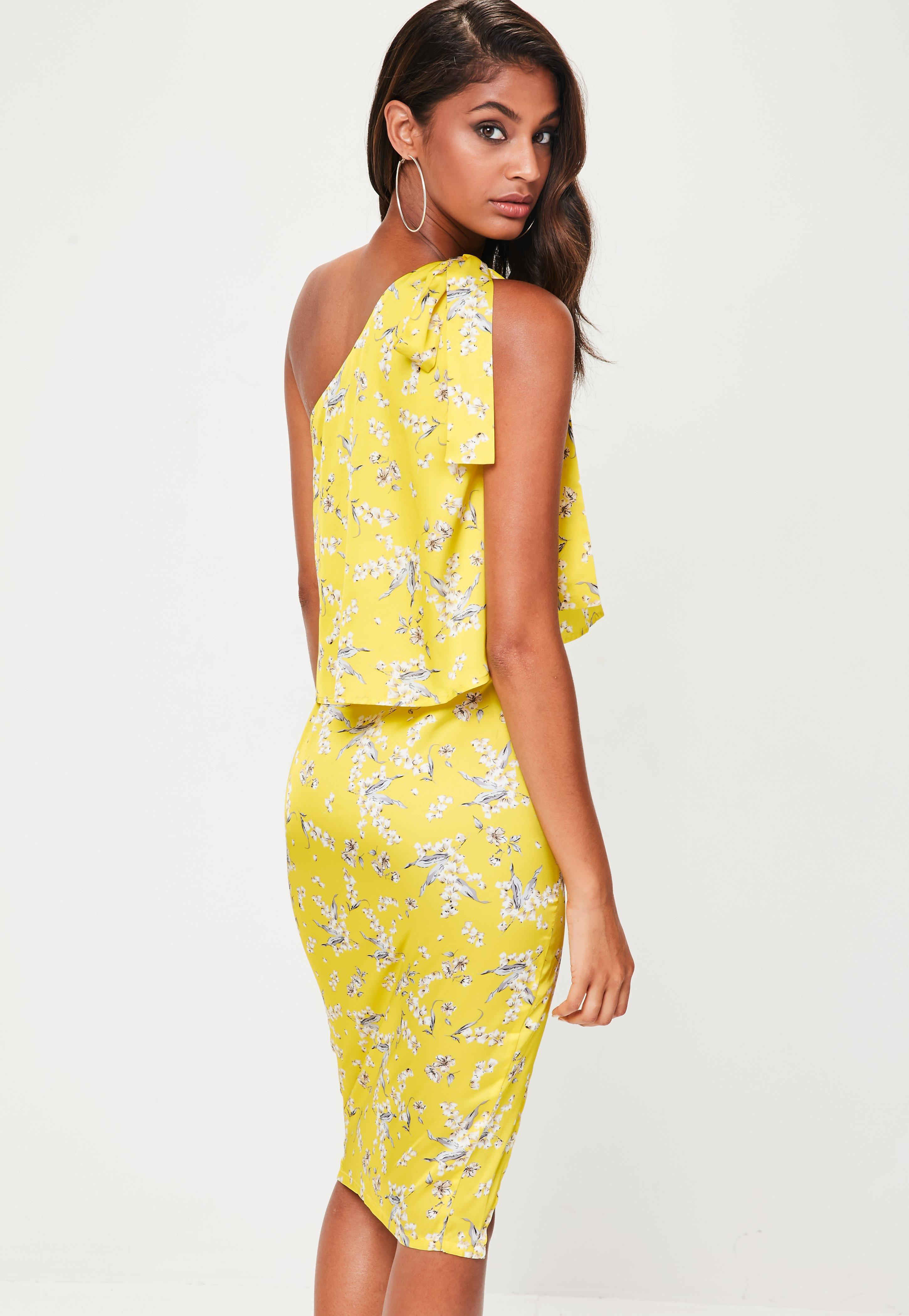 59e8aa781125 Missguided Yellow Floral One Shoulder Midi Dress in Yellow - Lyst