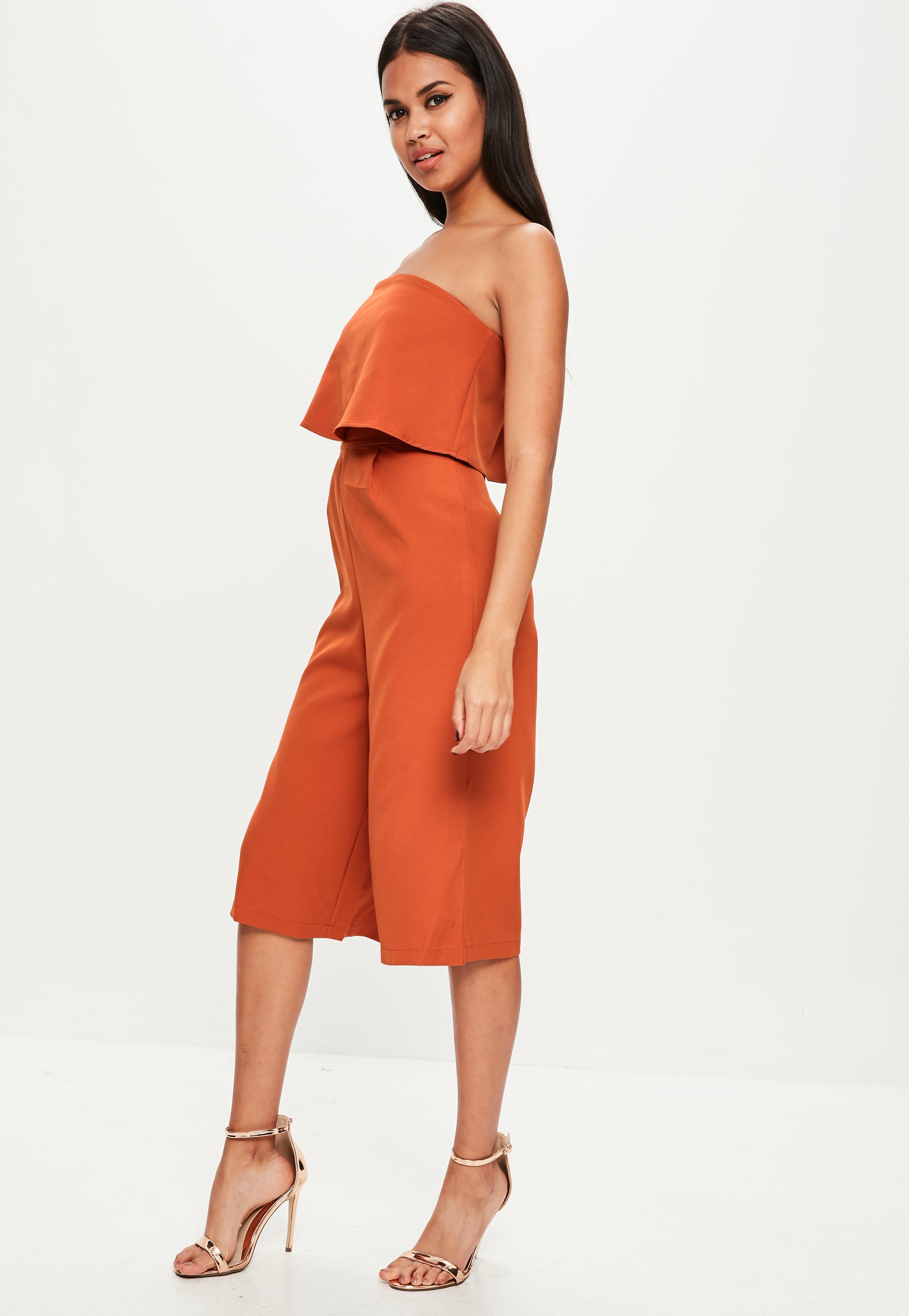 e680e2f0d3c2 Missguided Orange Layered Culottes Jumpsuit in Orange - Lyst