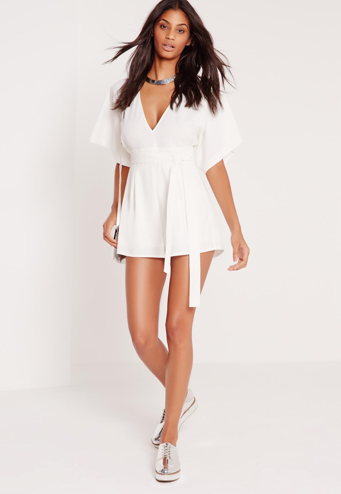 9150702f96f3 Missguided White Belted Kimono Style Playsuit in White - Lyst