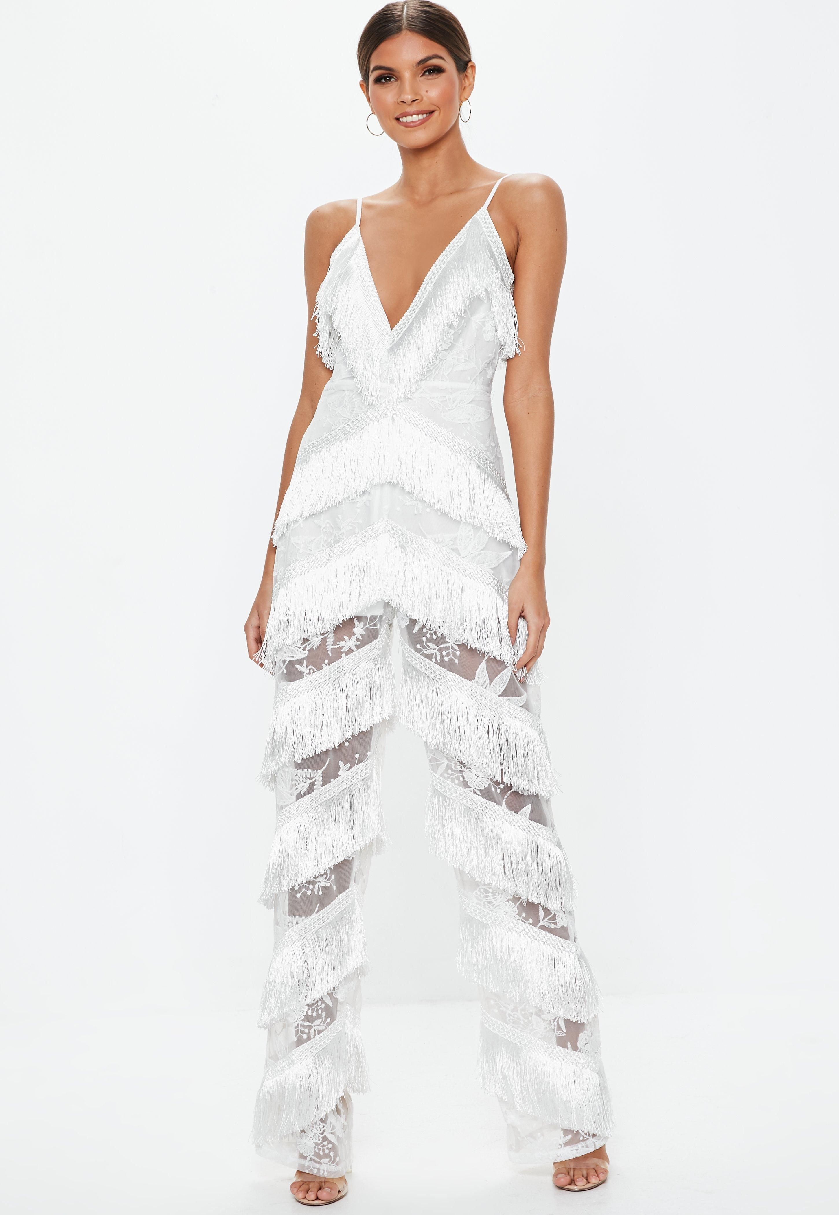 624fa518d438 Missguided - White Plunge Fringe Lace Jumpsuit - Lyst. View fullscreen
