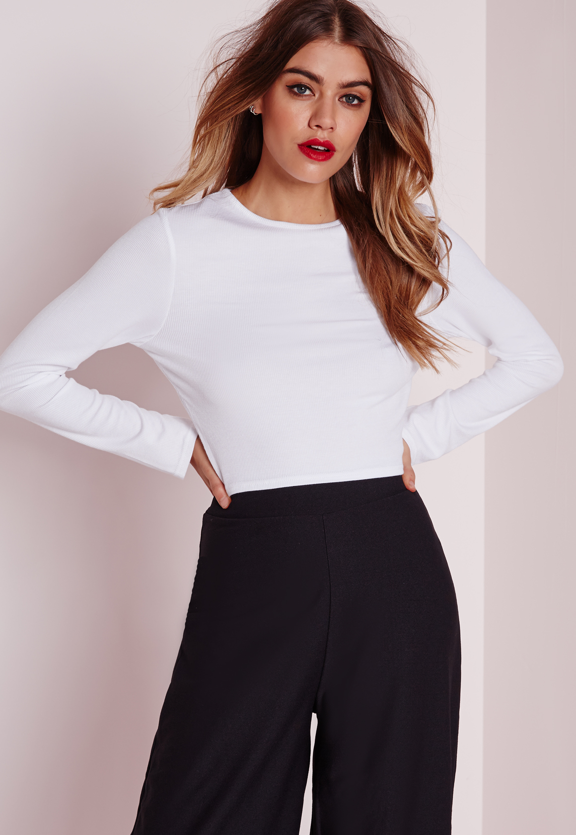 Missguided Ribbed Long Sleeve Crop Top White in White | Lyst