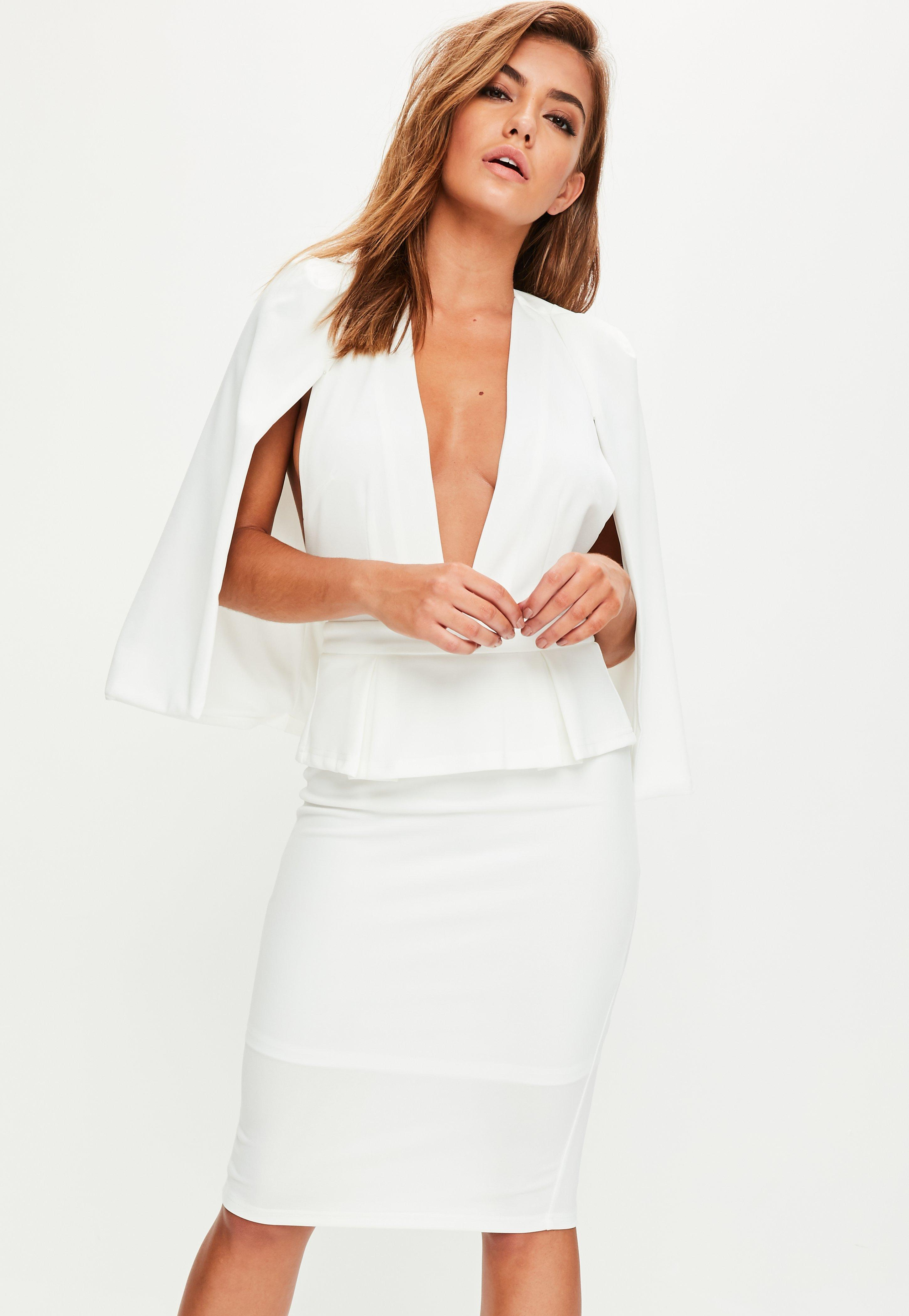 4d027d02592bc Lyst - Missguided White Cape Midi Dress in White