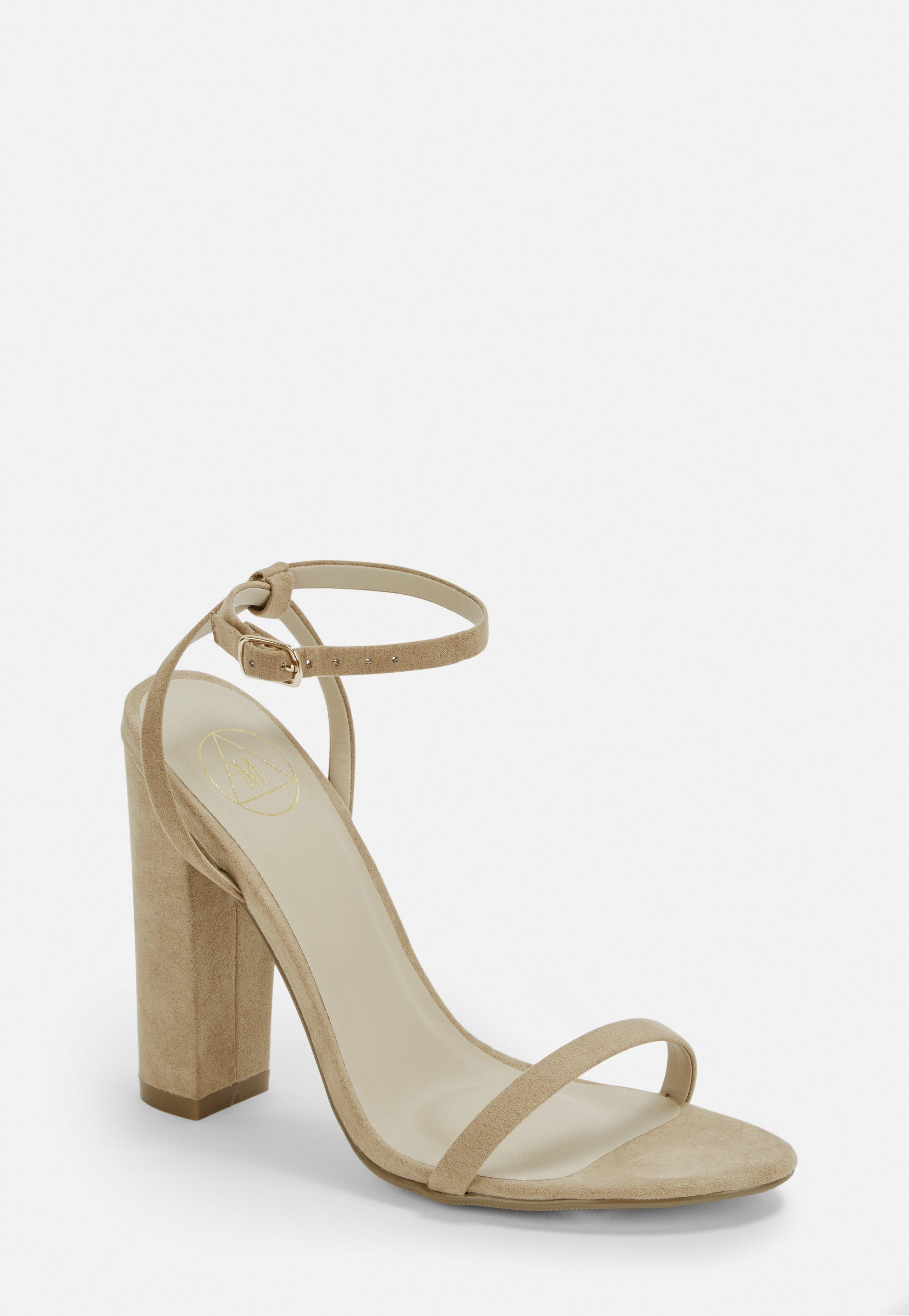 1761a3e6ea9d Lyst - Missguided Nude Faux Suede Heel Sandals in Natural