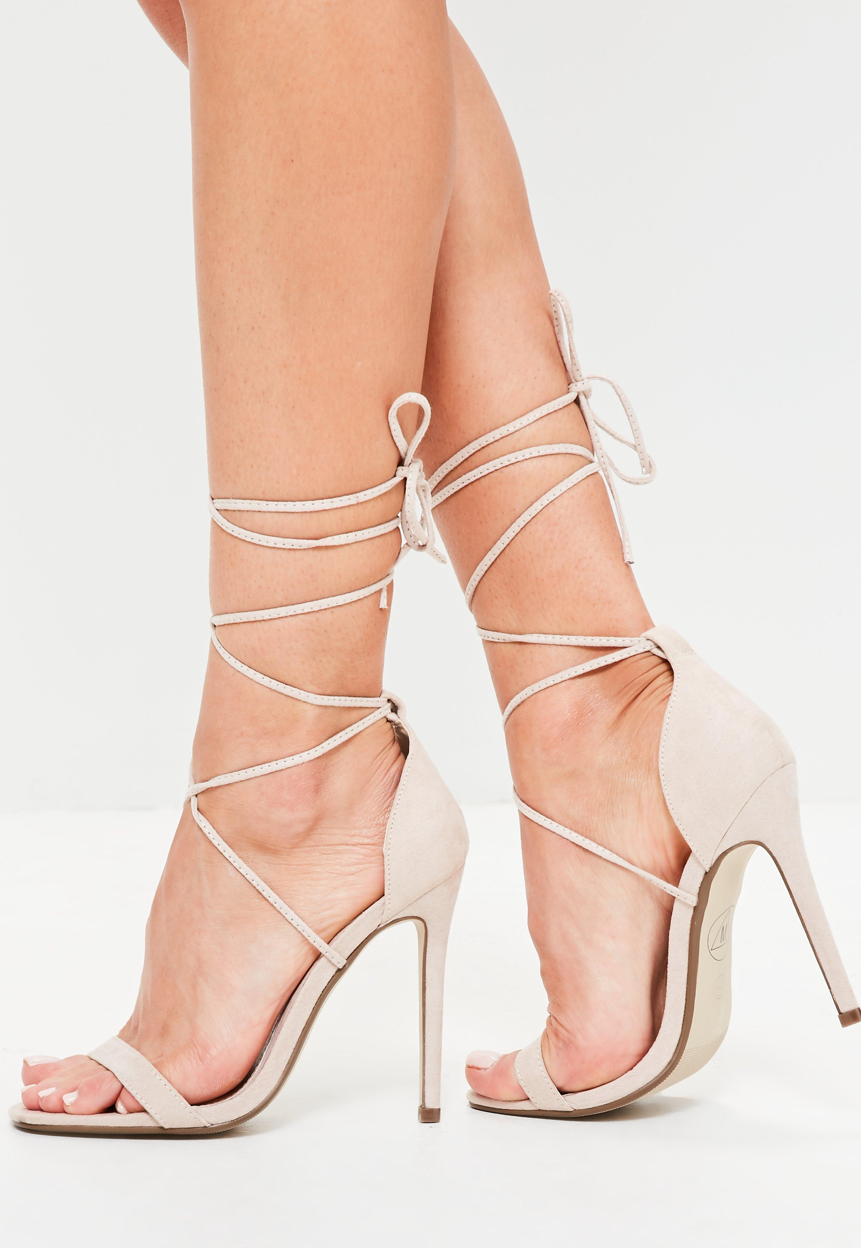45b6bdfbcbac Lyst - Missguided Lace Up Barely There Heeled Sandals Nude in Natural