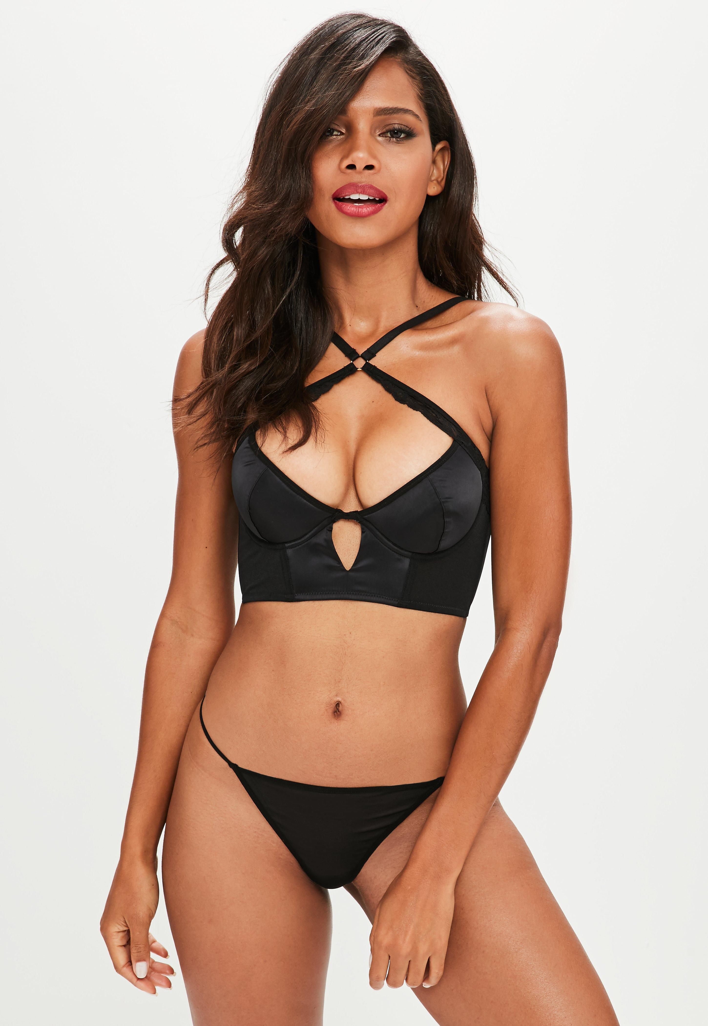 67471263e5b6a Lyst - Missguided Black Satin Underwired Lace Longline Bra .