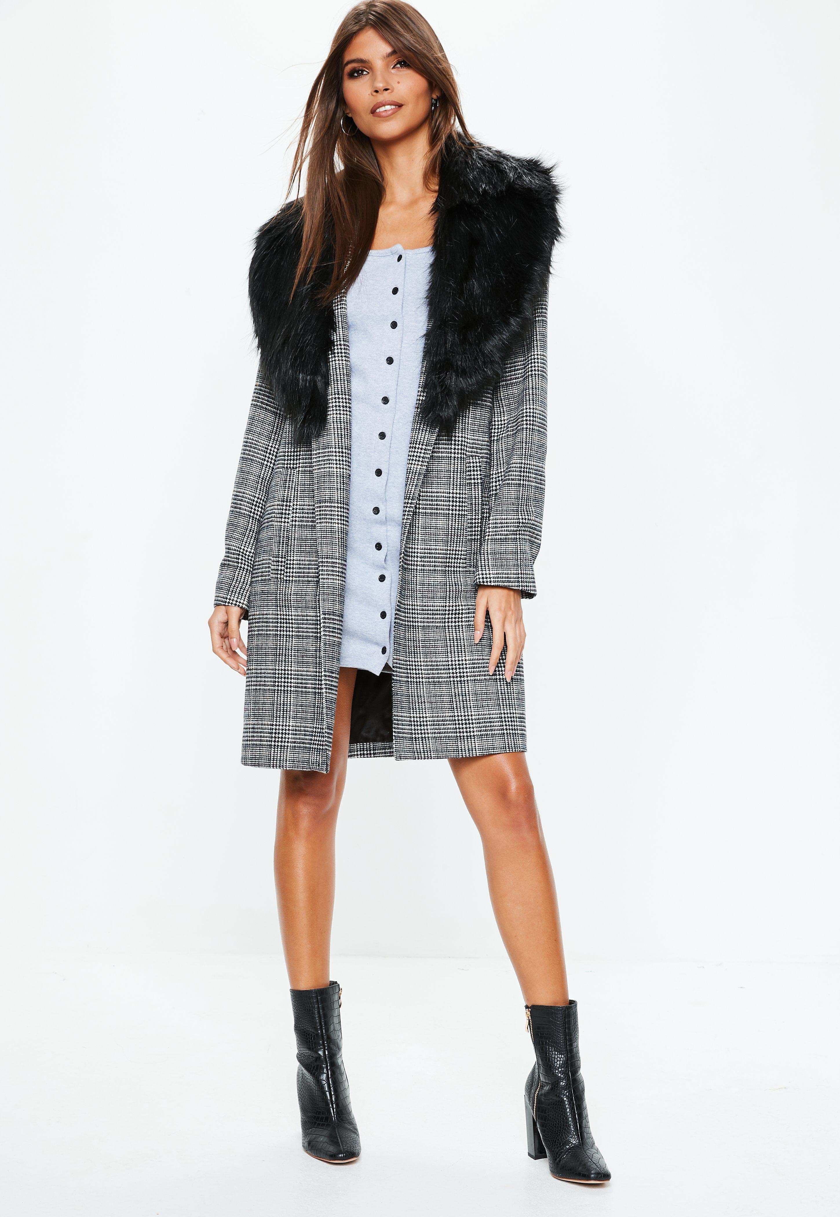 cfd92eb3c17a Missguided - Gray Grey Faux Fur Collar Check Coat - Lyst. View fullscreen