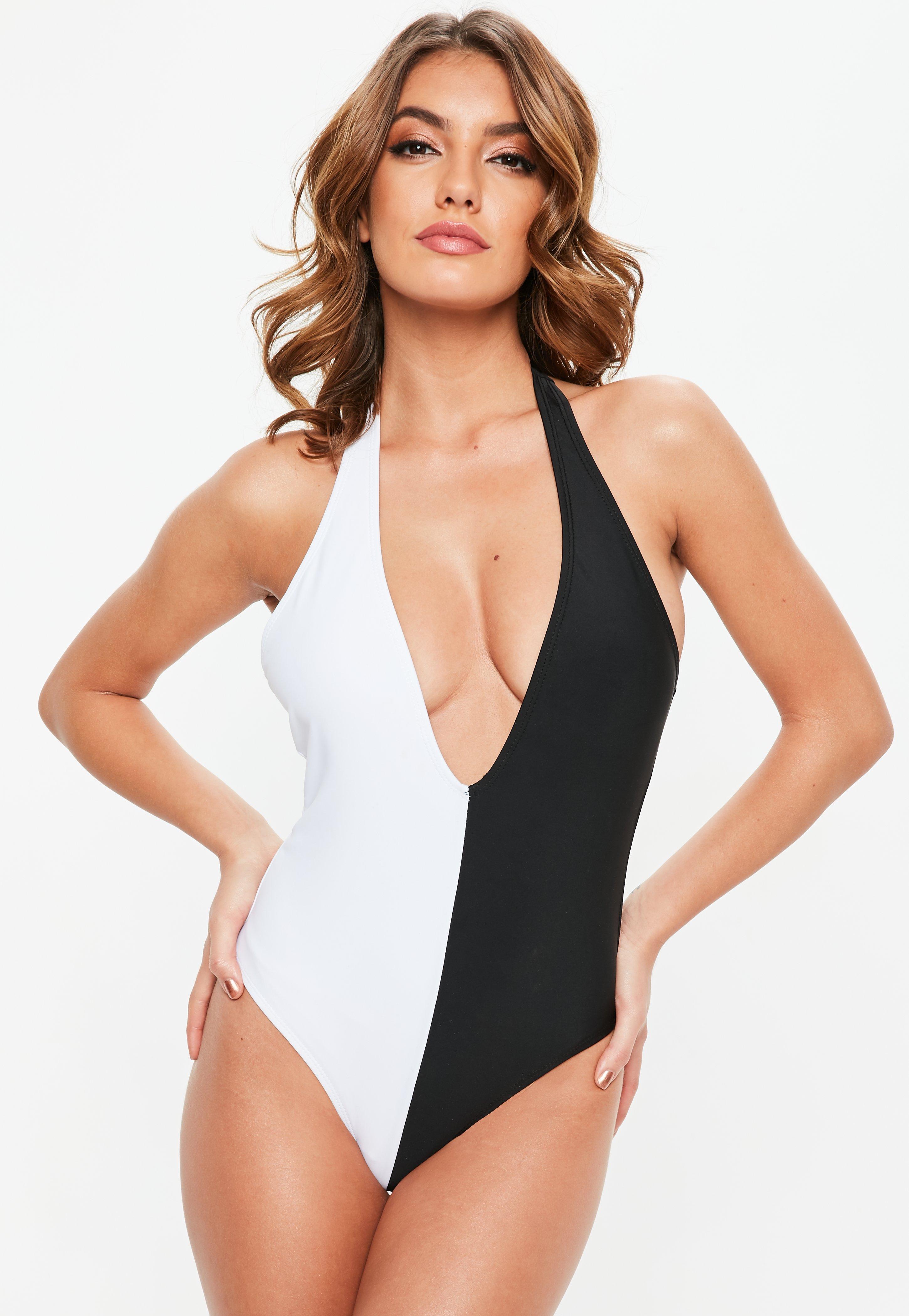 f38da9c7c9615 Lyst - Missguided Black Mono Halterneck Plunge Swimsuit in Black