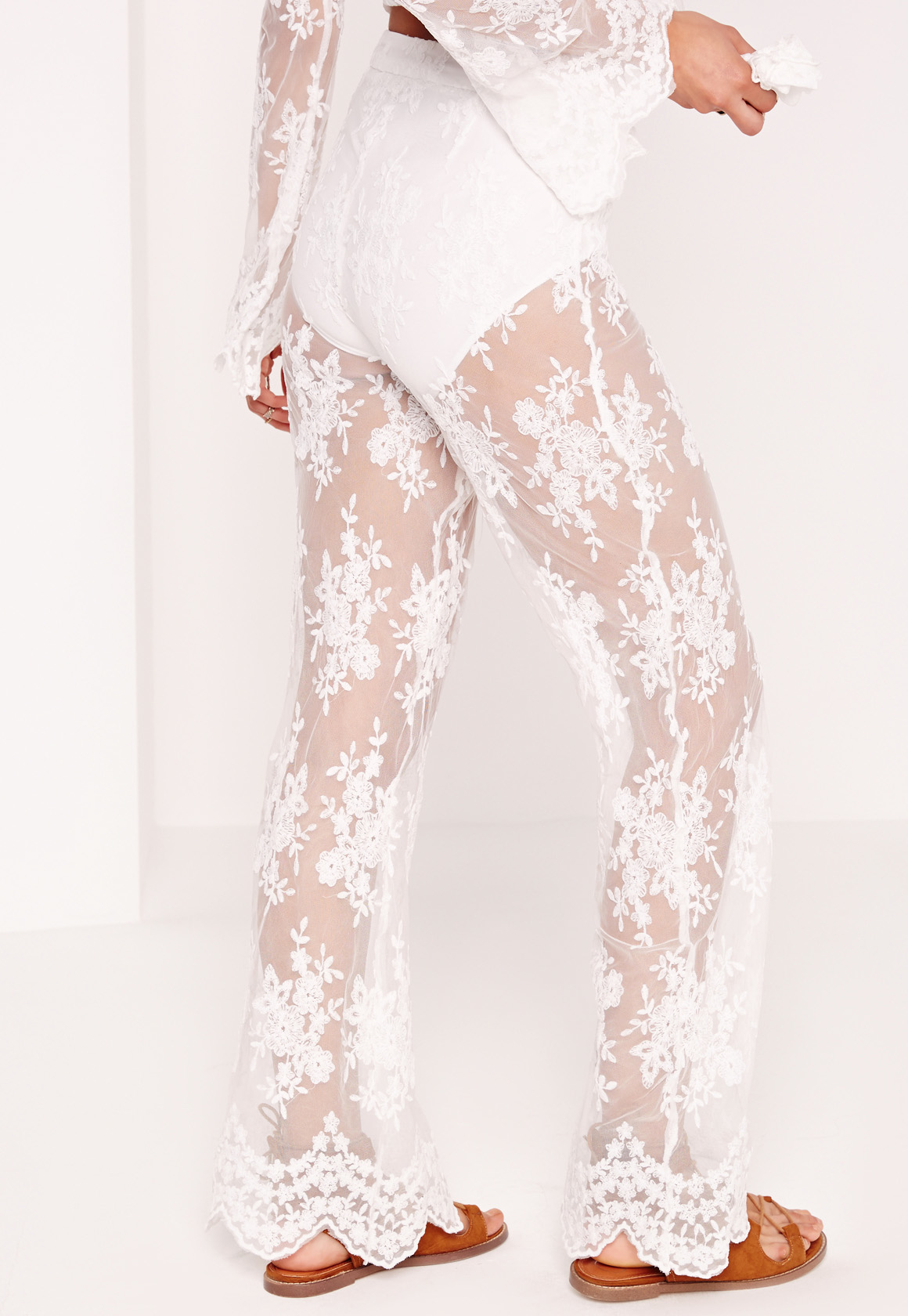Lyst Missguided Lace Sheer Wide Leg Trousers White In White