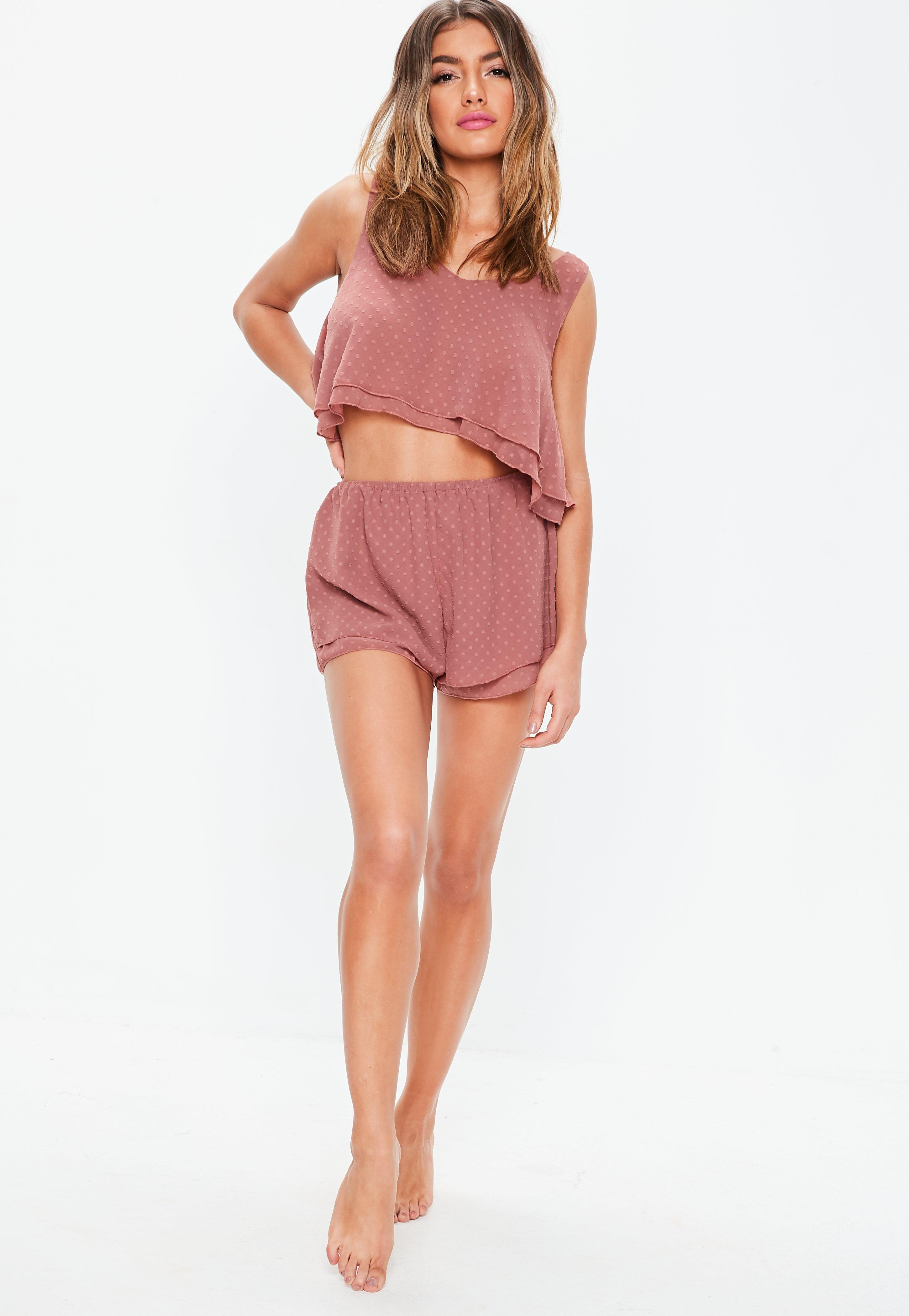 c27766b570a2 Missguided - Pink Rose Dobby Layered Crop And Short Pajamas Set - Lyst.  View fullscreen