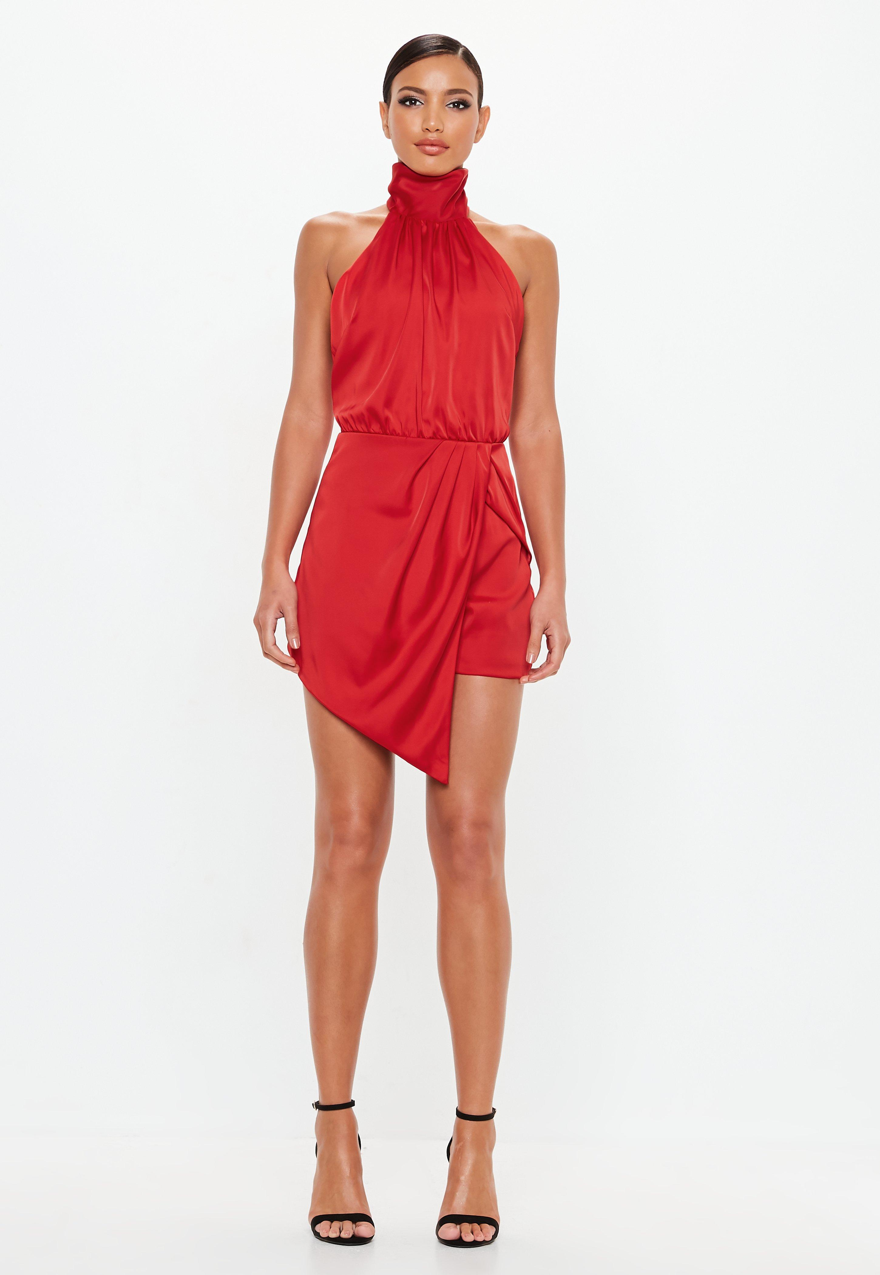 525fa5d83d7 Missguided - Peace + Love Red Wrap Satin Playsuit - Lyst. View fullscreen