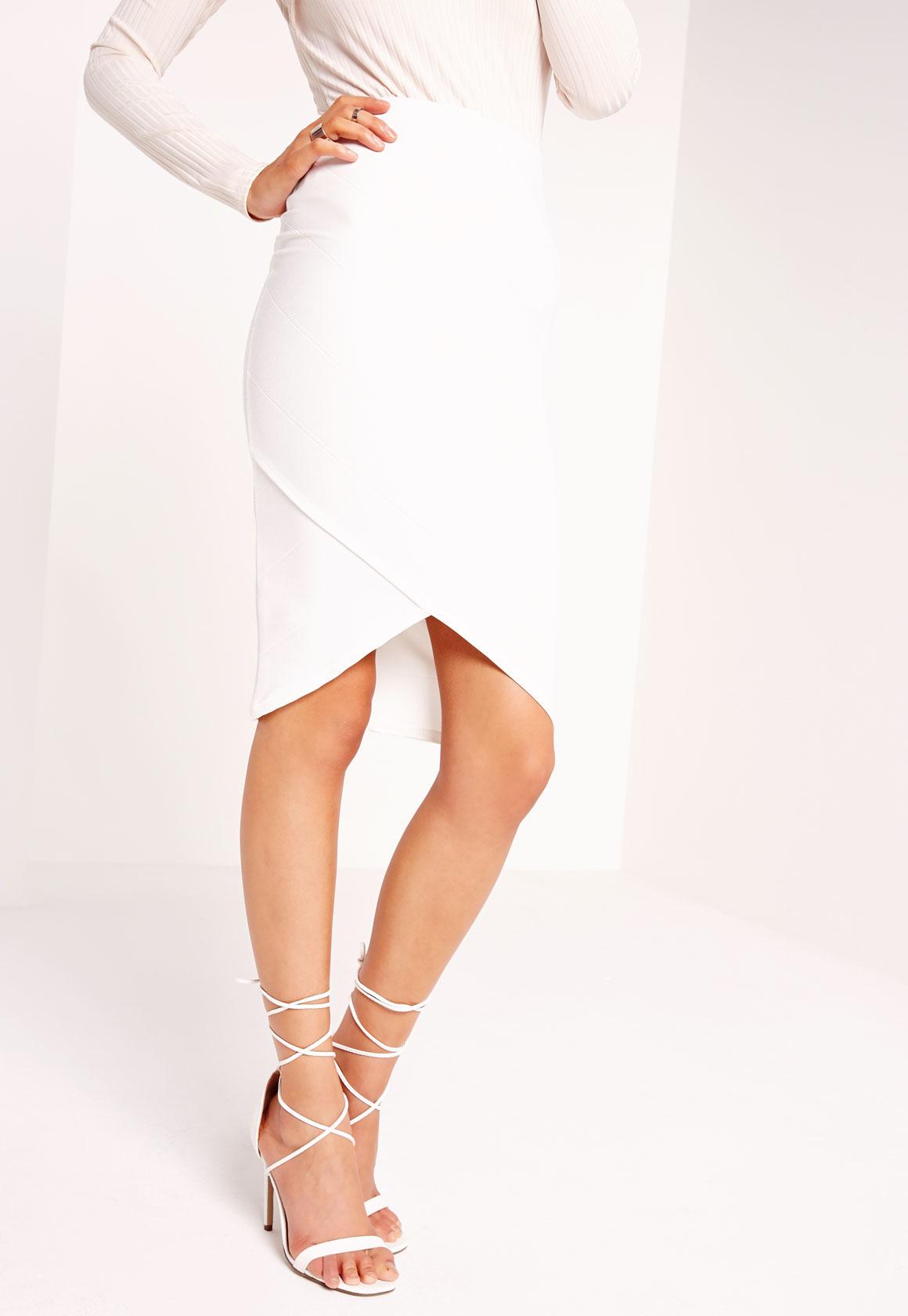missguided bandage asymmetric hem midi skirt white in