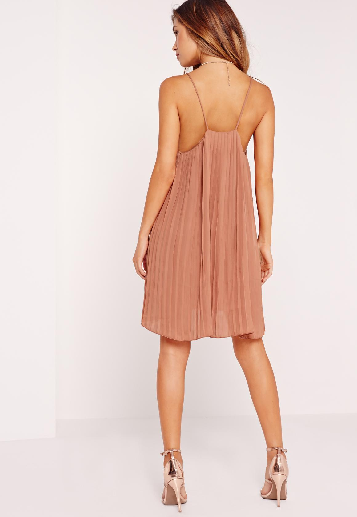 c7ce377d2da9 Lyst - Missguided Strappy Pleated Swing Dress Nude