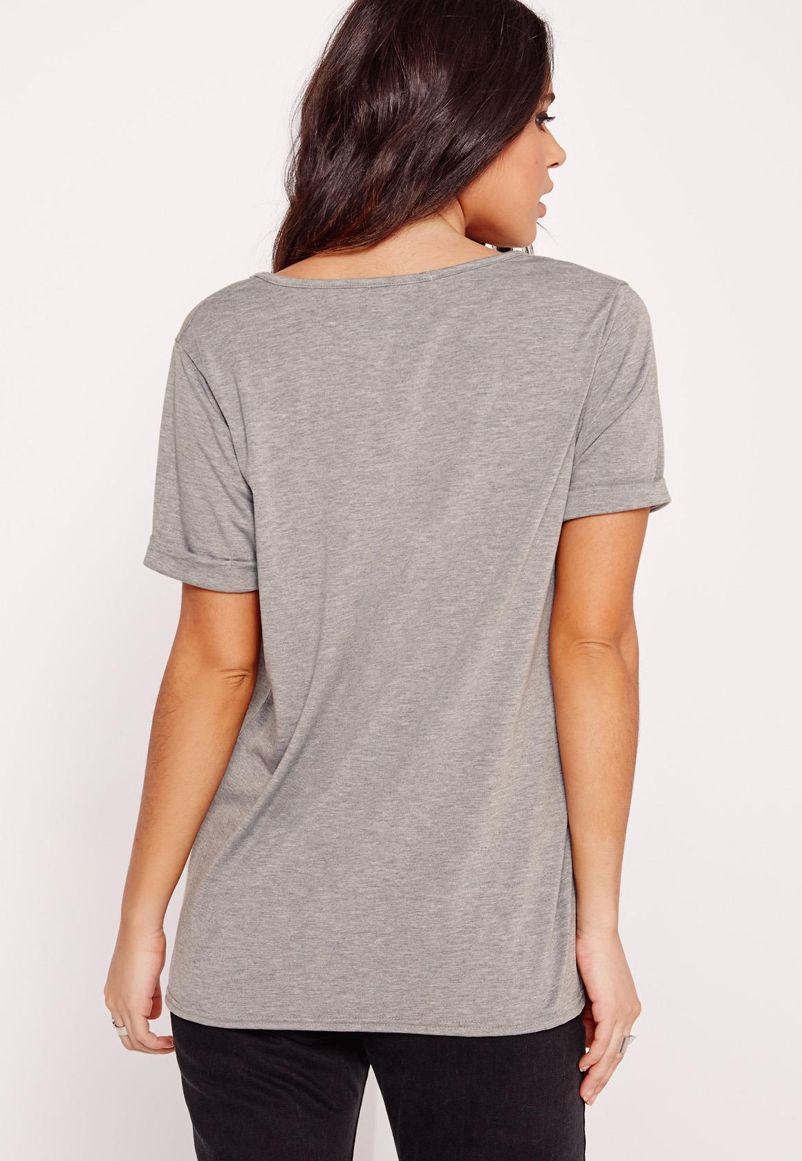 Lyst missguided boyfriend v neck t shirt grey marl in gray for Grey marl t shirt