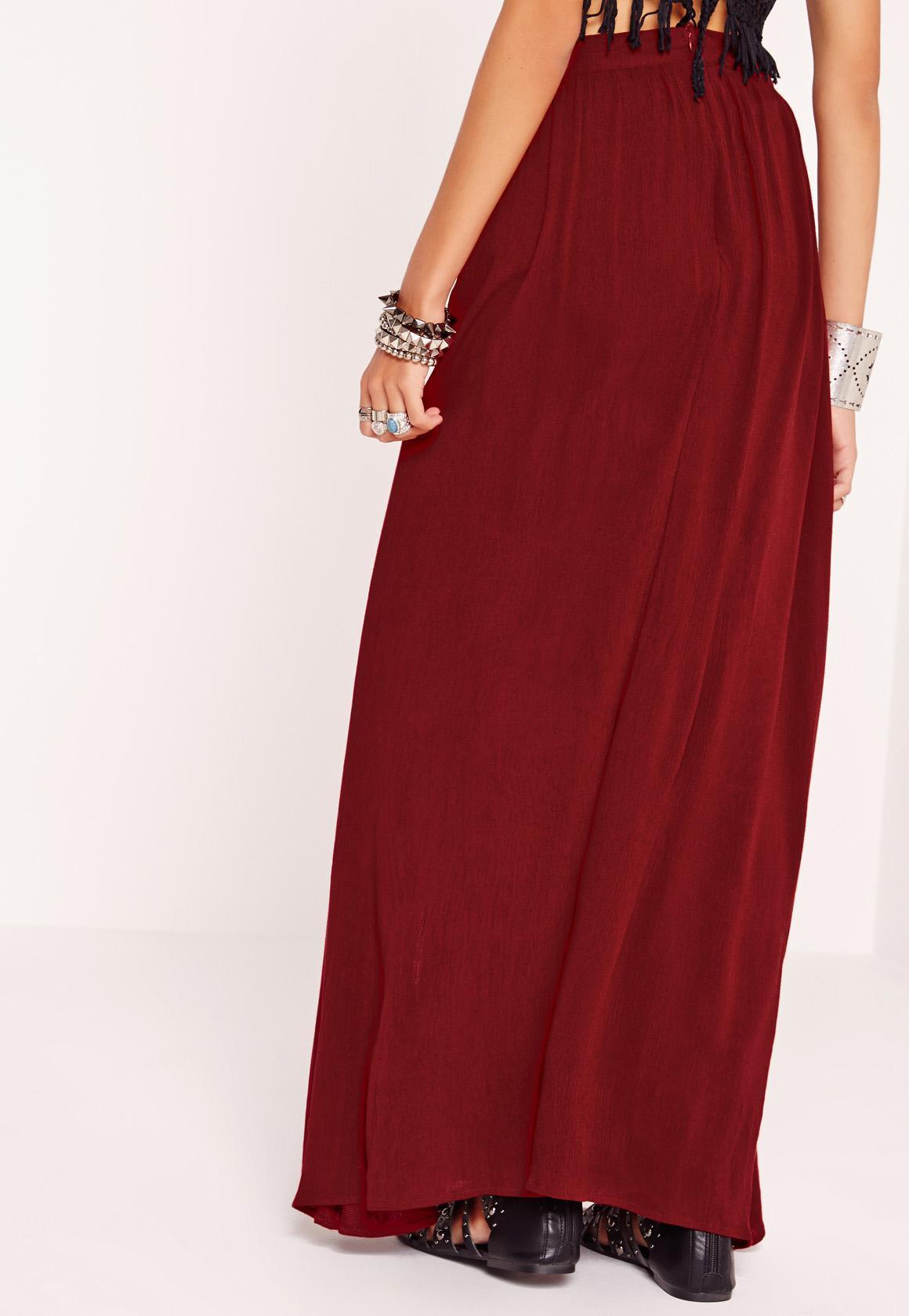 missguided split maxi skirt burgundy in lyst