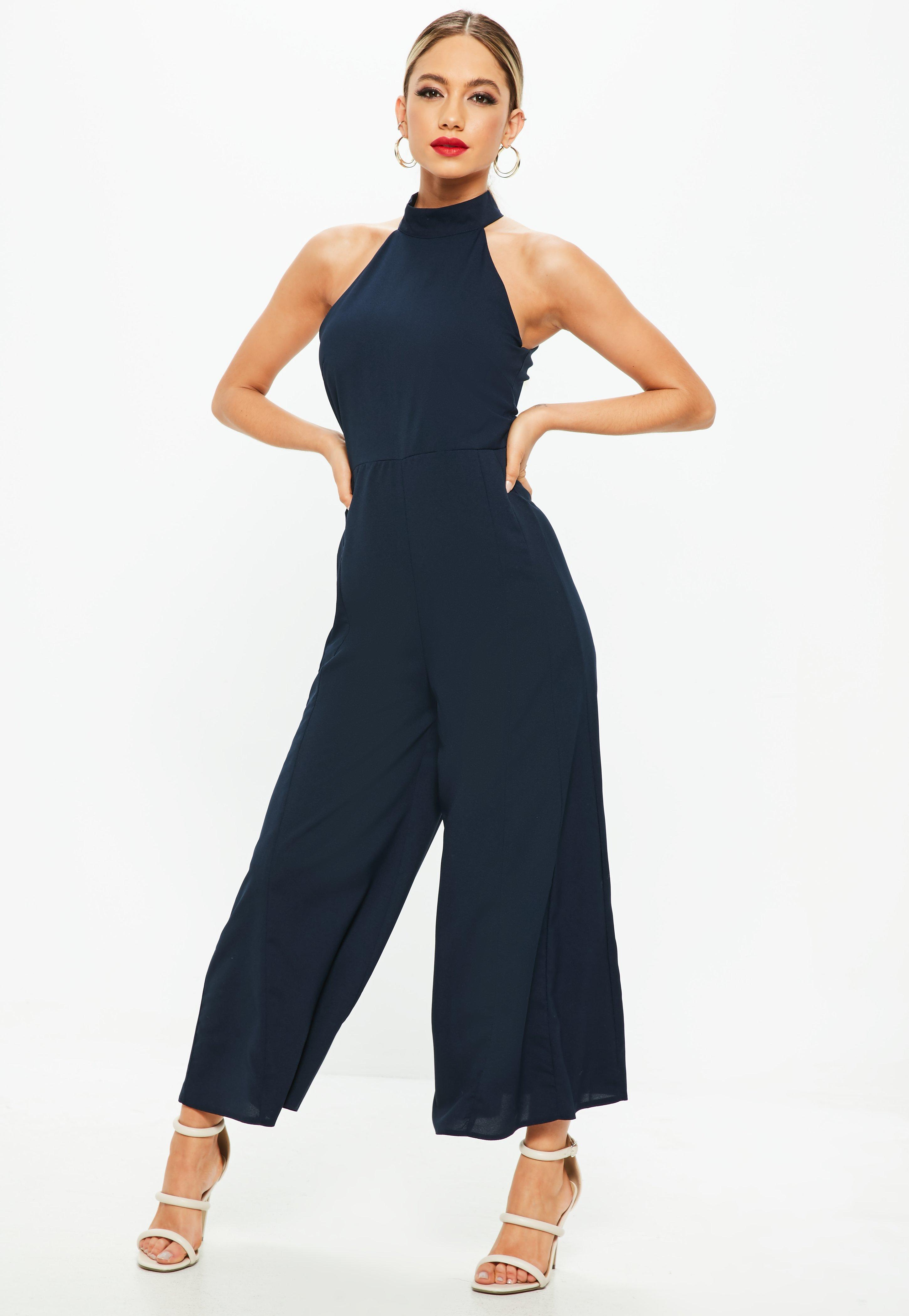 56d56ba4c7e7 Lyst - Missguided Navy High Neck Jumpsuit in Blue