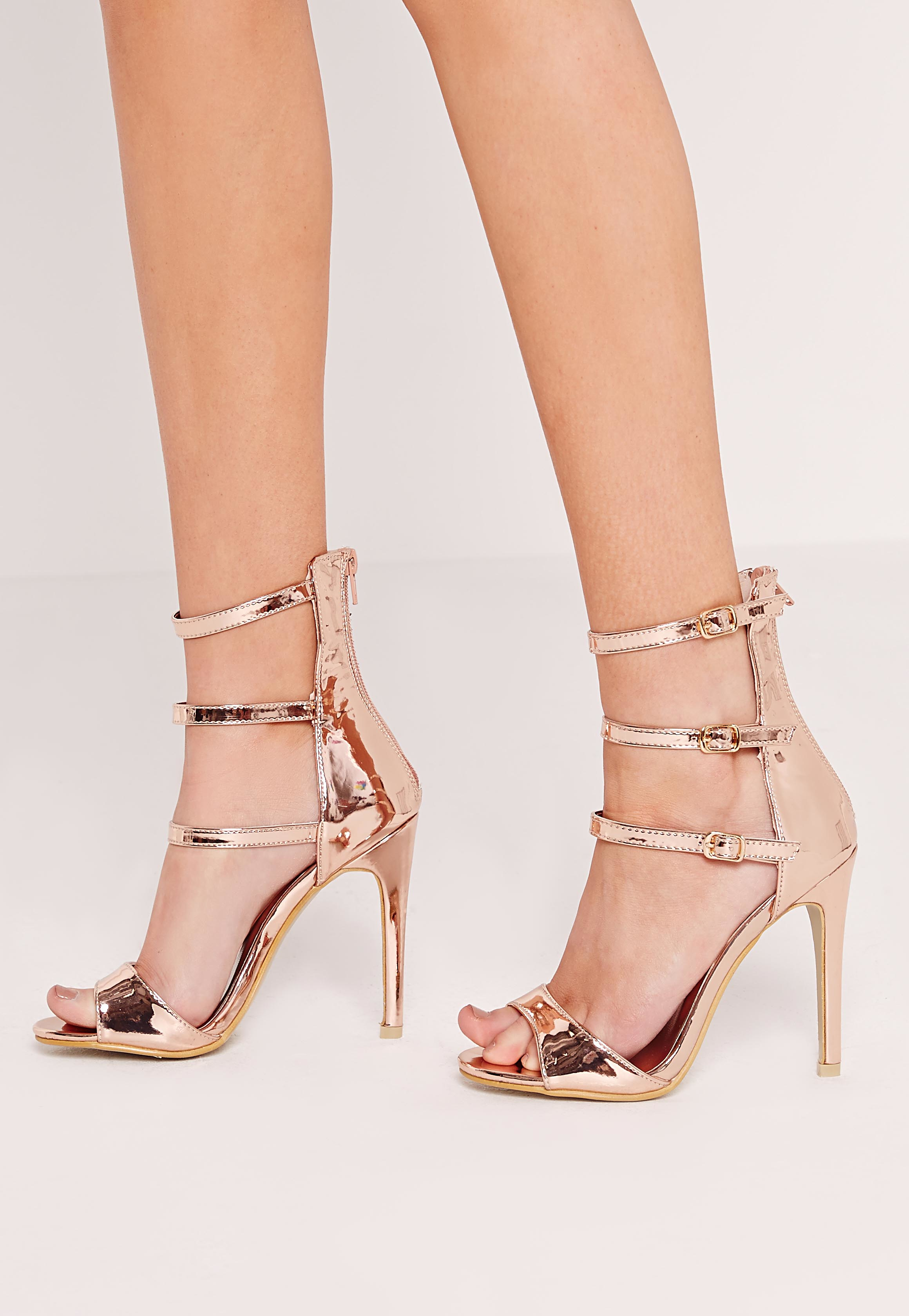 12ec26ea10a Missguided Buckle Three Strap Barely There Heeled Sandals Rose Gold ...