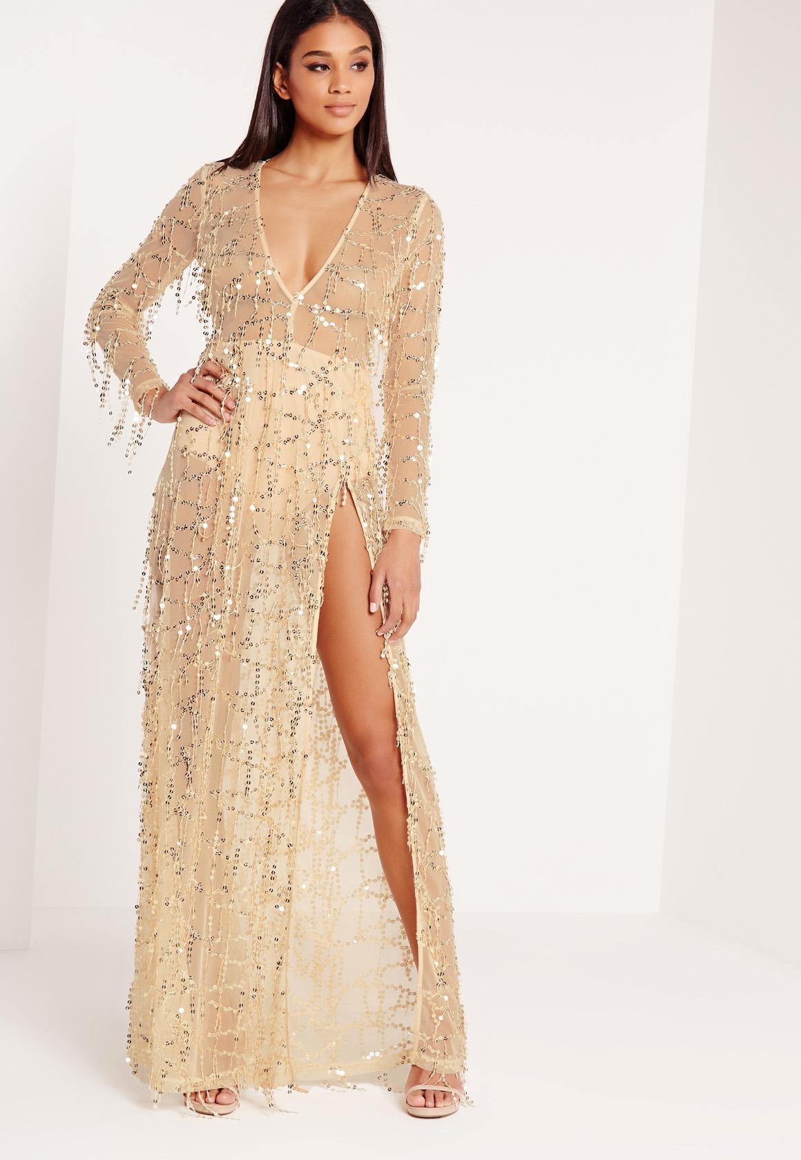 Lyst Missguided Sequin Mini Dress Gold In Black