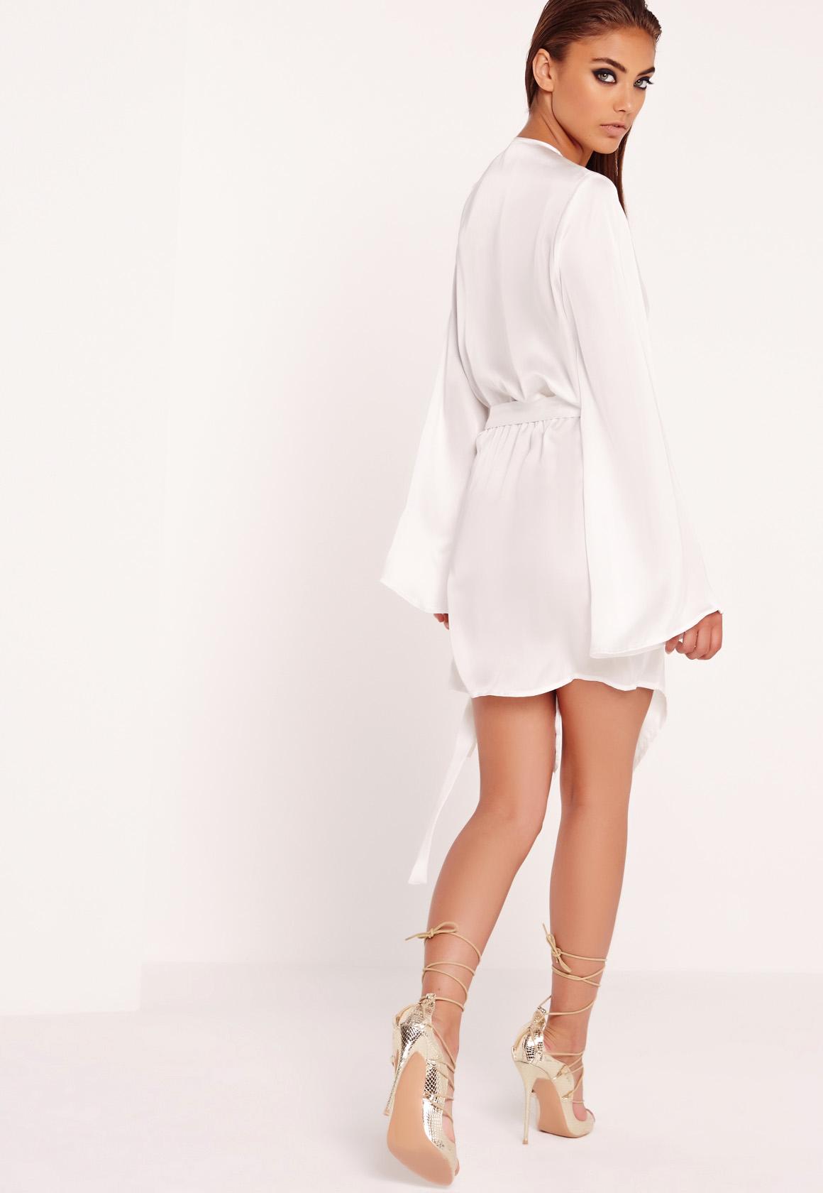 Missguided Kimono Wrap Dress White In White Lyst