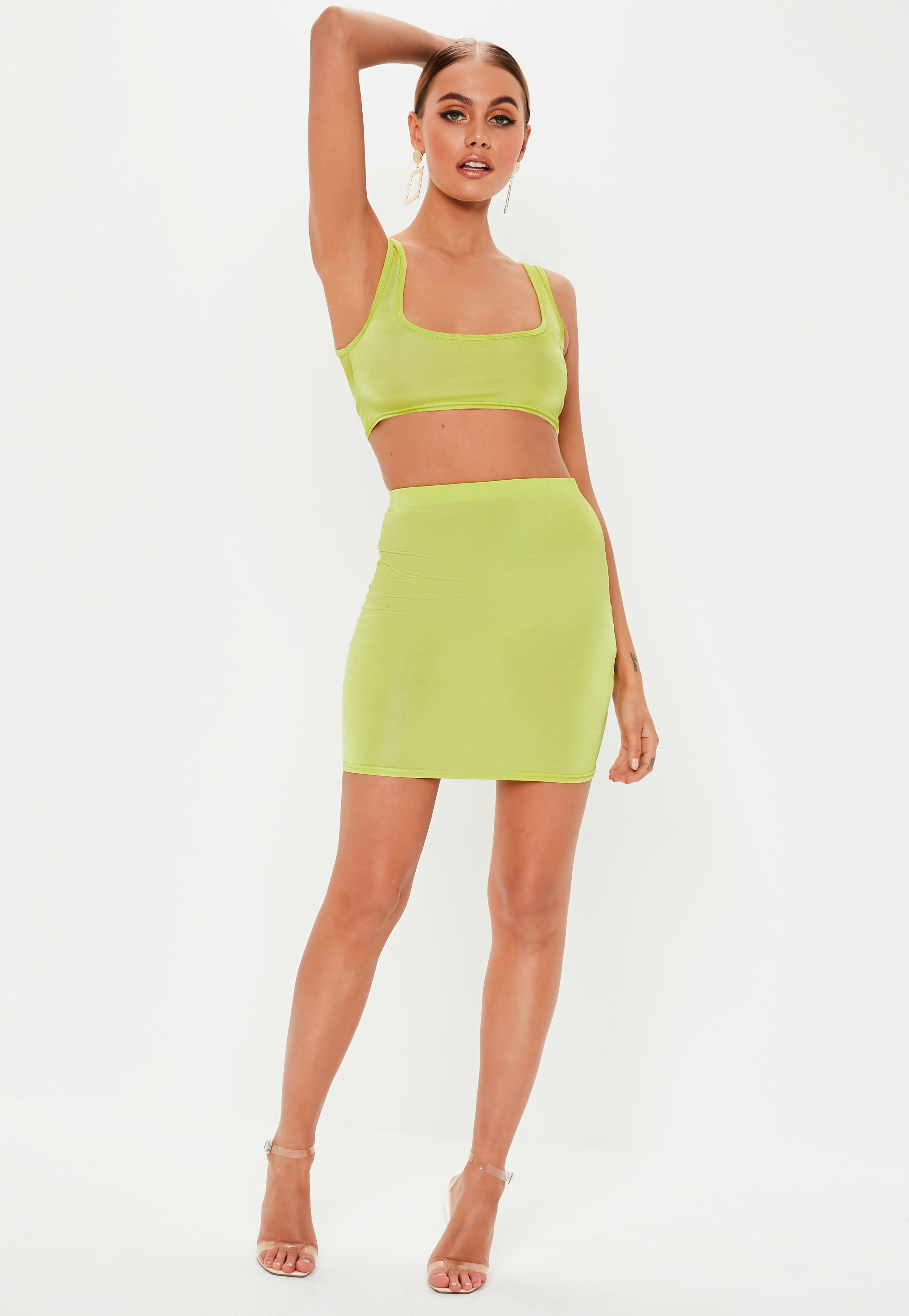 8edfdbe7e46 Lyst - Missguided Lime Disco Scoop Neck Bralet in Green