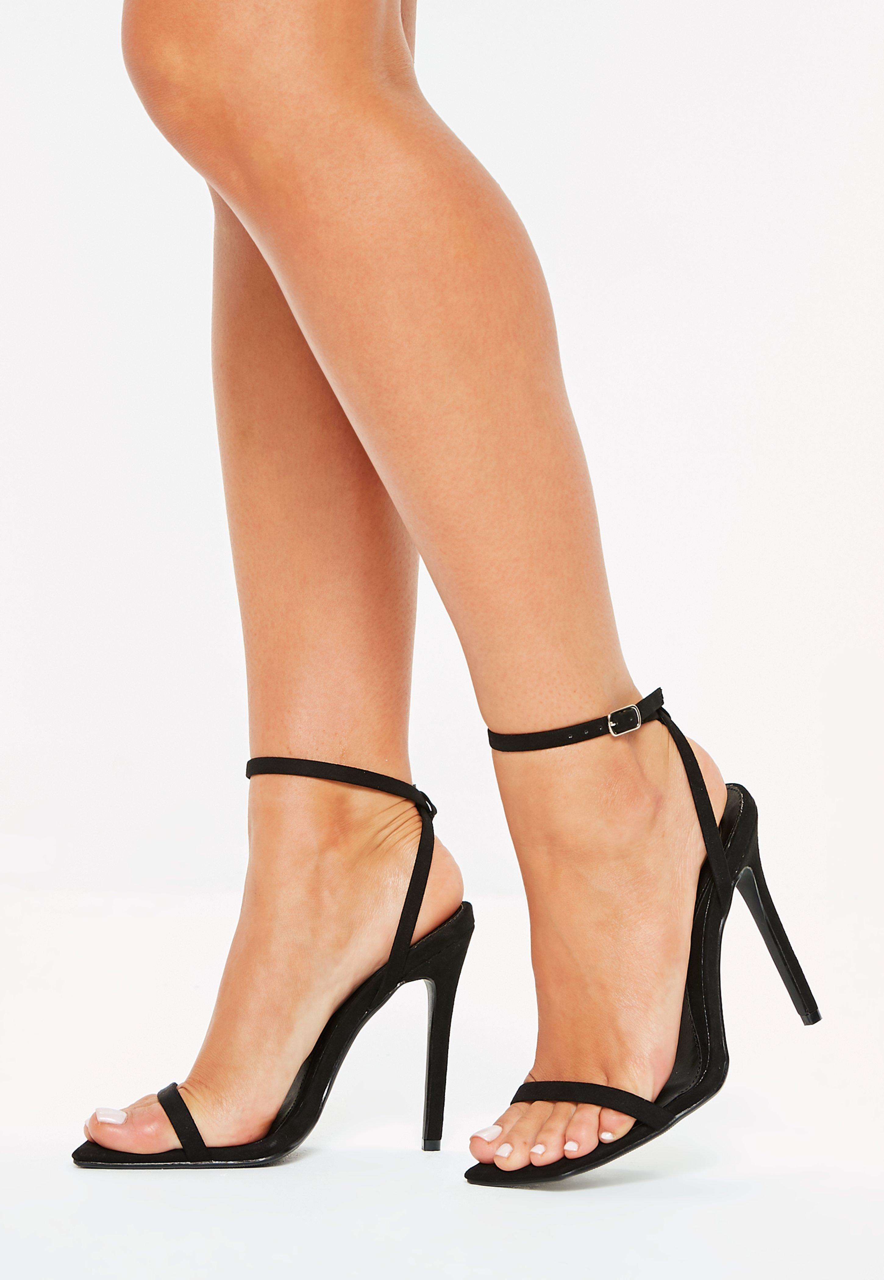bd5f55bcc6d9 Lyst - Missguided Black Slanted Toe Barely There Heels in Black