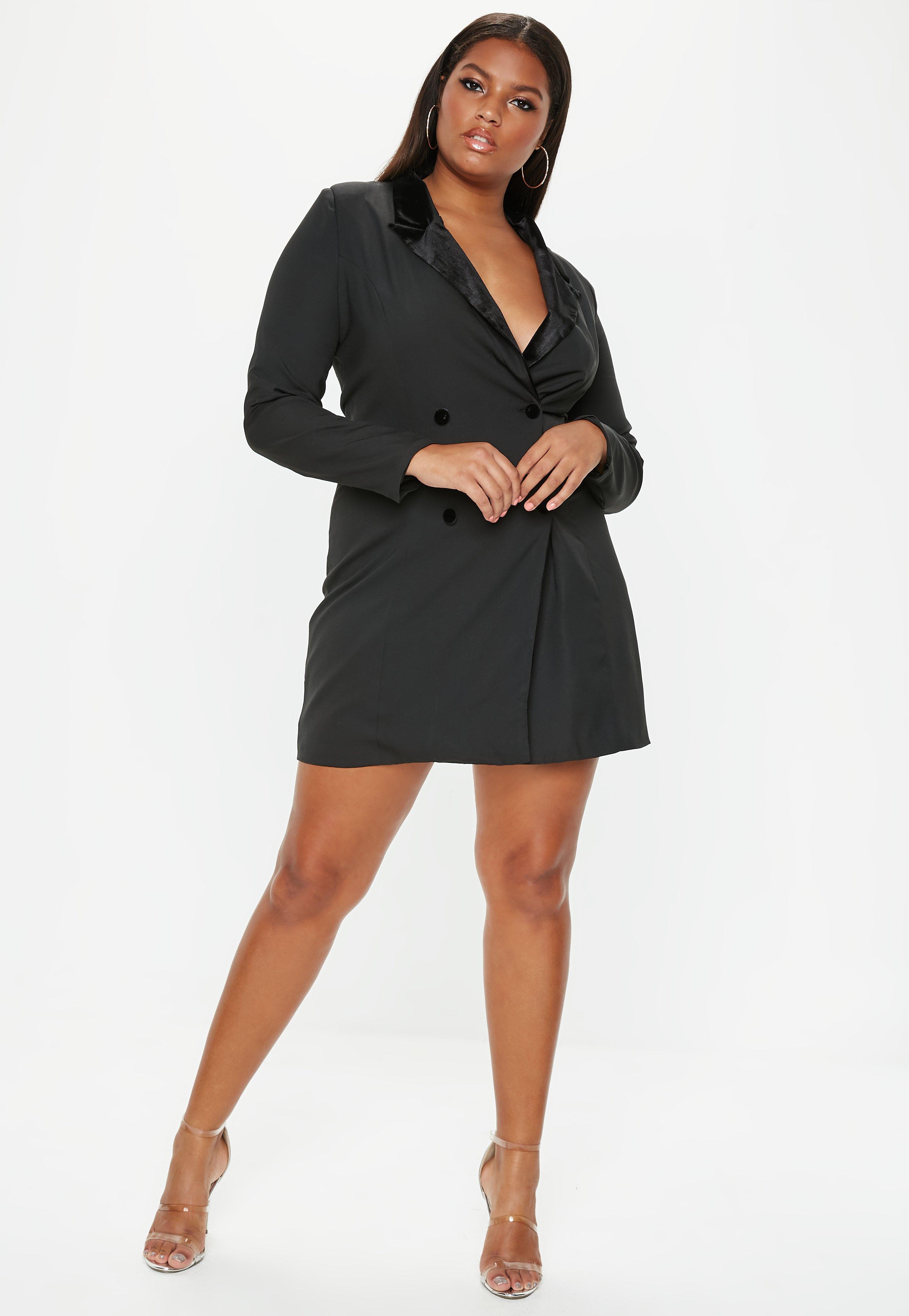 Missguided Plus Size Black Velvet Tux Dress in Black - Lyst