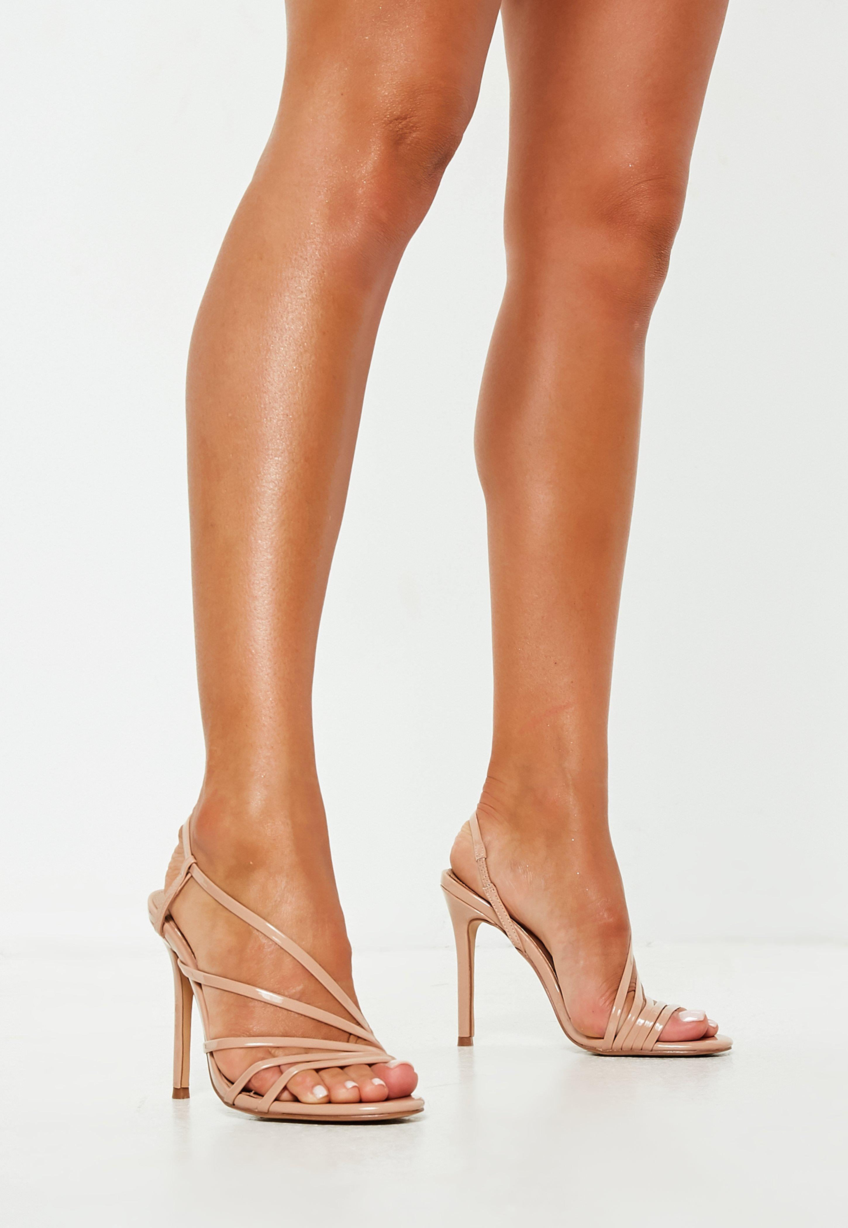 ffffdc7546563d Lyst - Missguided Nude Asymmetric Multi Strap Heel Sandals in Natural