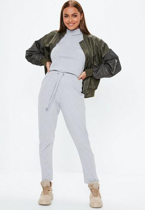 b76b5a3a9115 Missguided. Women s Gray Grey Ribbed Roll Neck Jumpsuit