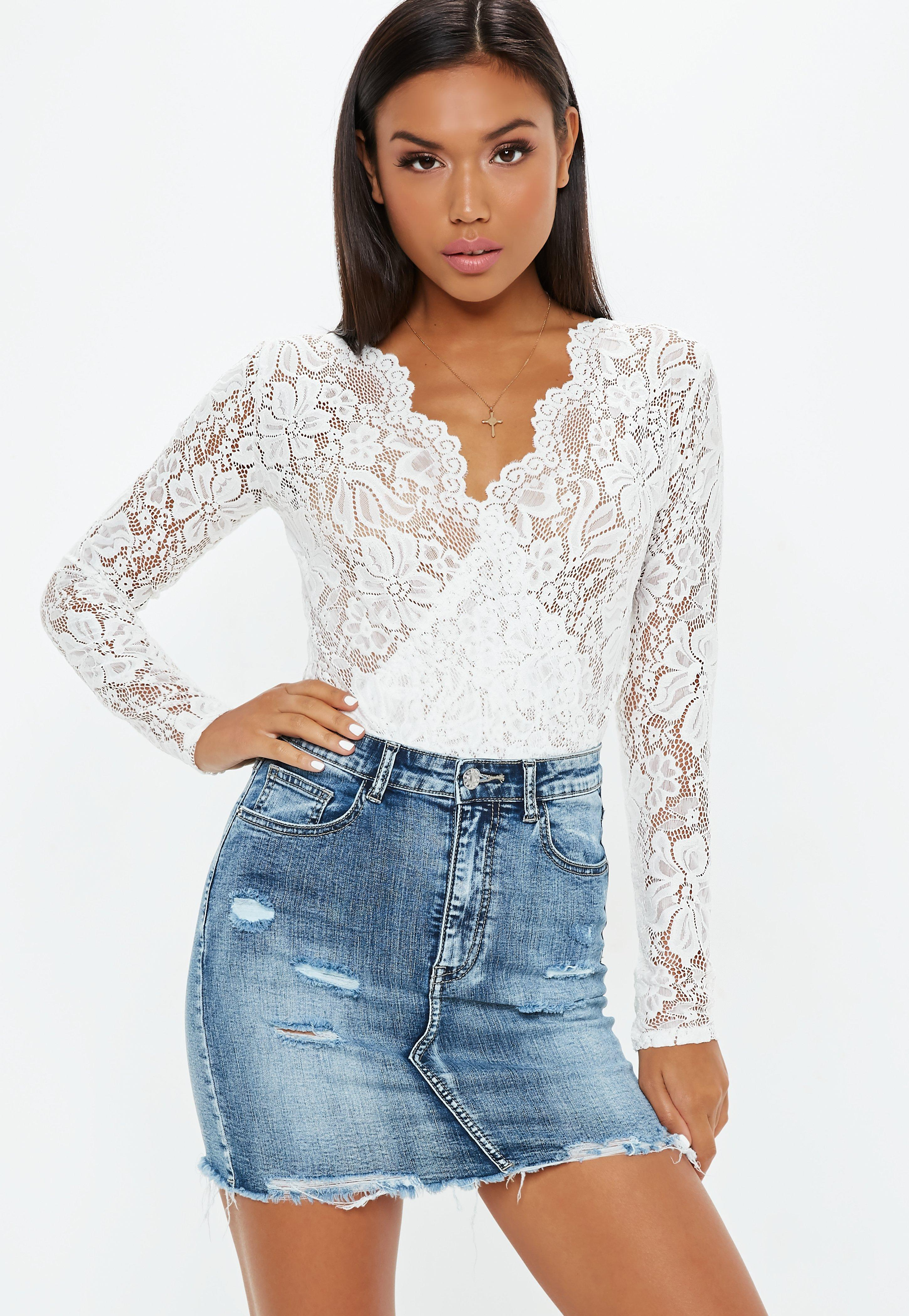 Lyst - Missguided White Sheer Lace Deep Plunge Wrap Over Bodysuit in ... a4db622be