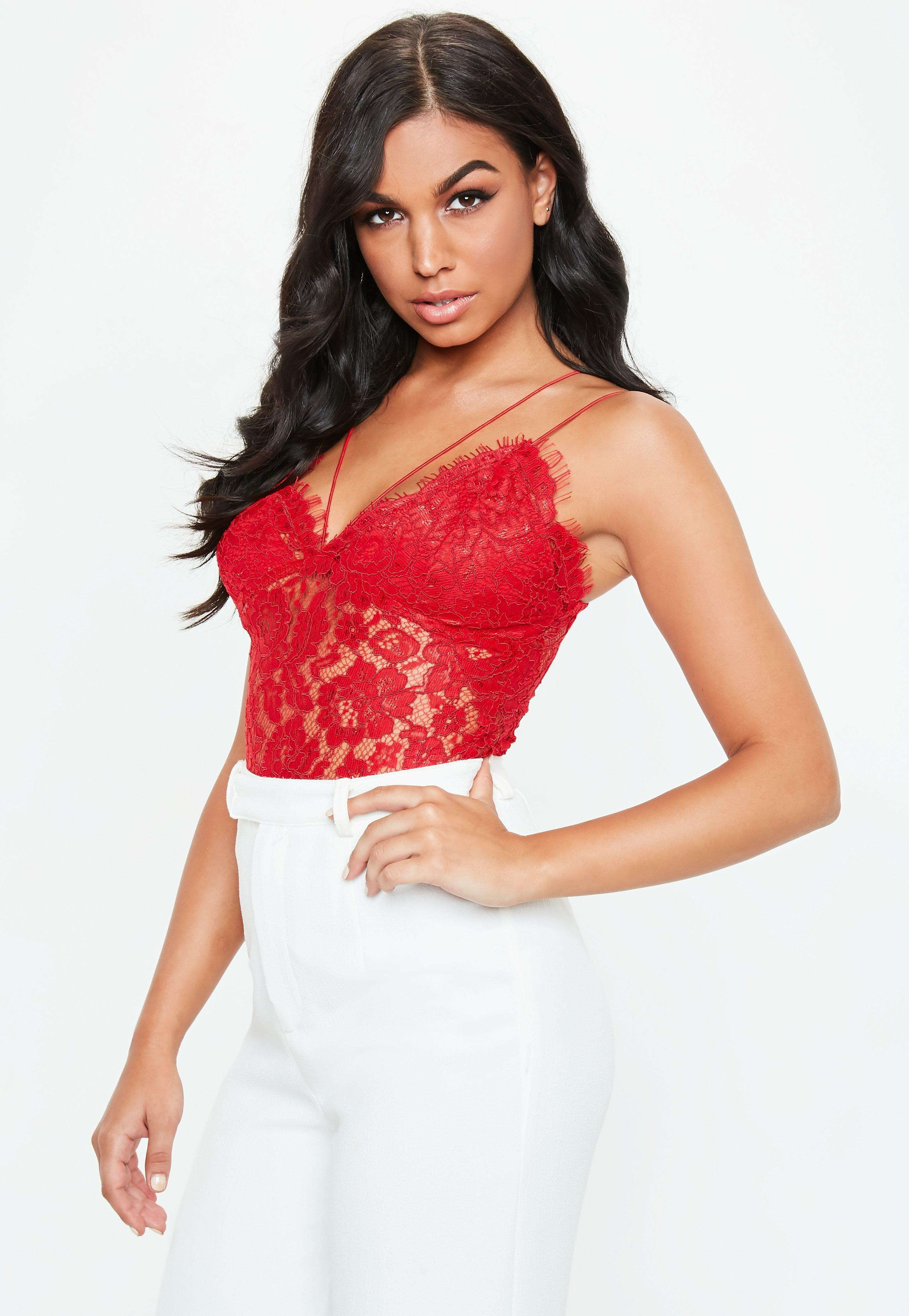 edf2b2b1bb Lyst - Missguided Red Corded Lace Harness Bodysuit in Red