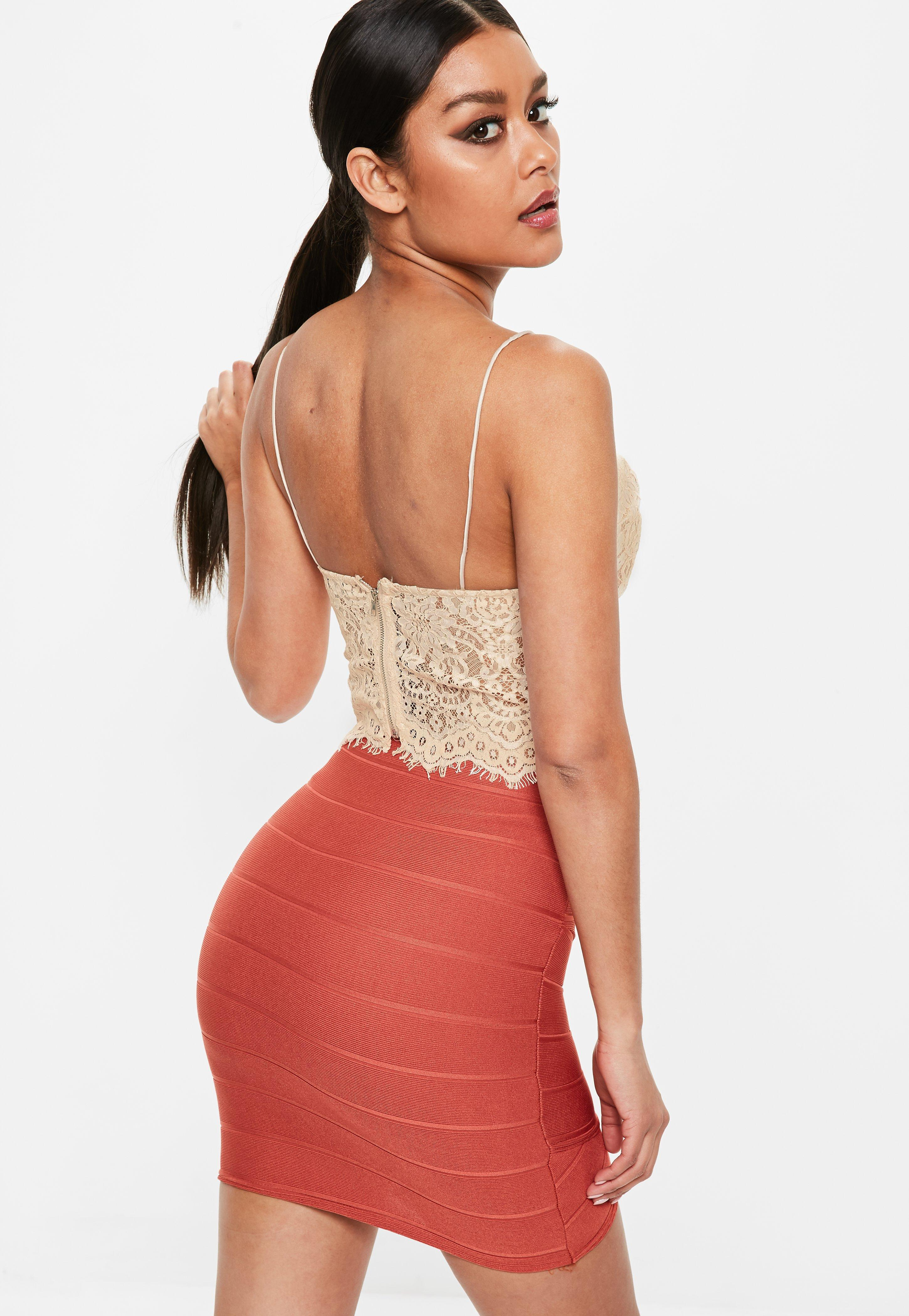 Missguided Petite Nude Lace Cami Top - Lyst