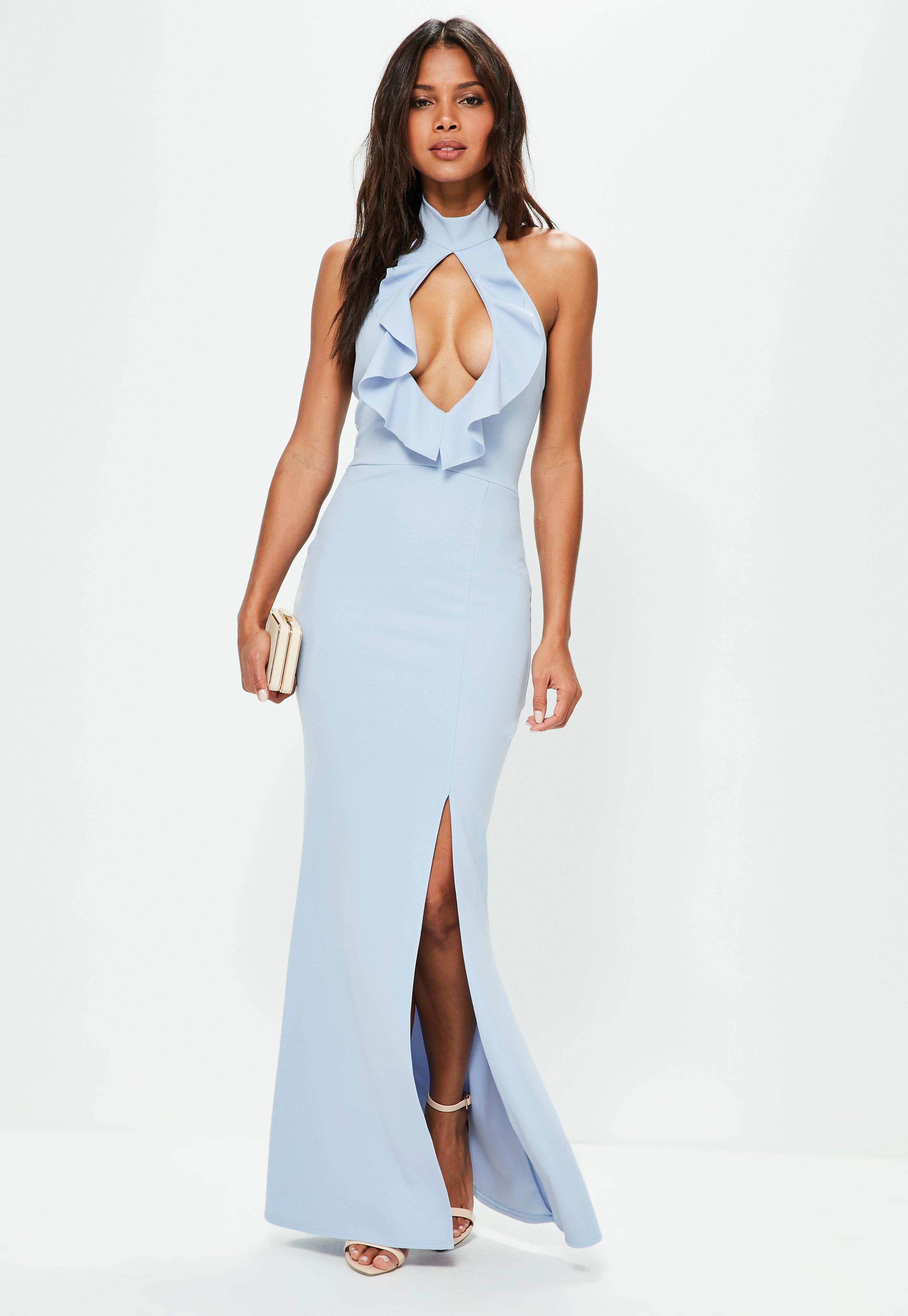 Lyst - Missguided Blue High Neck Keyhole Frill Detail Maxi Dress in Blue 4d7bd8a6b
