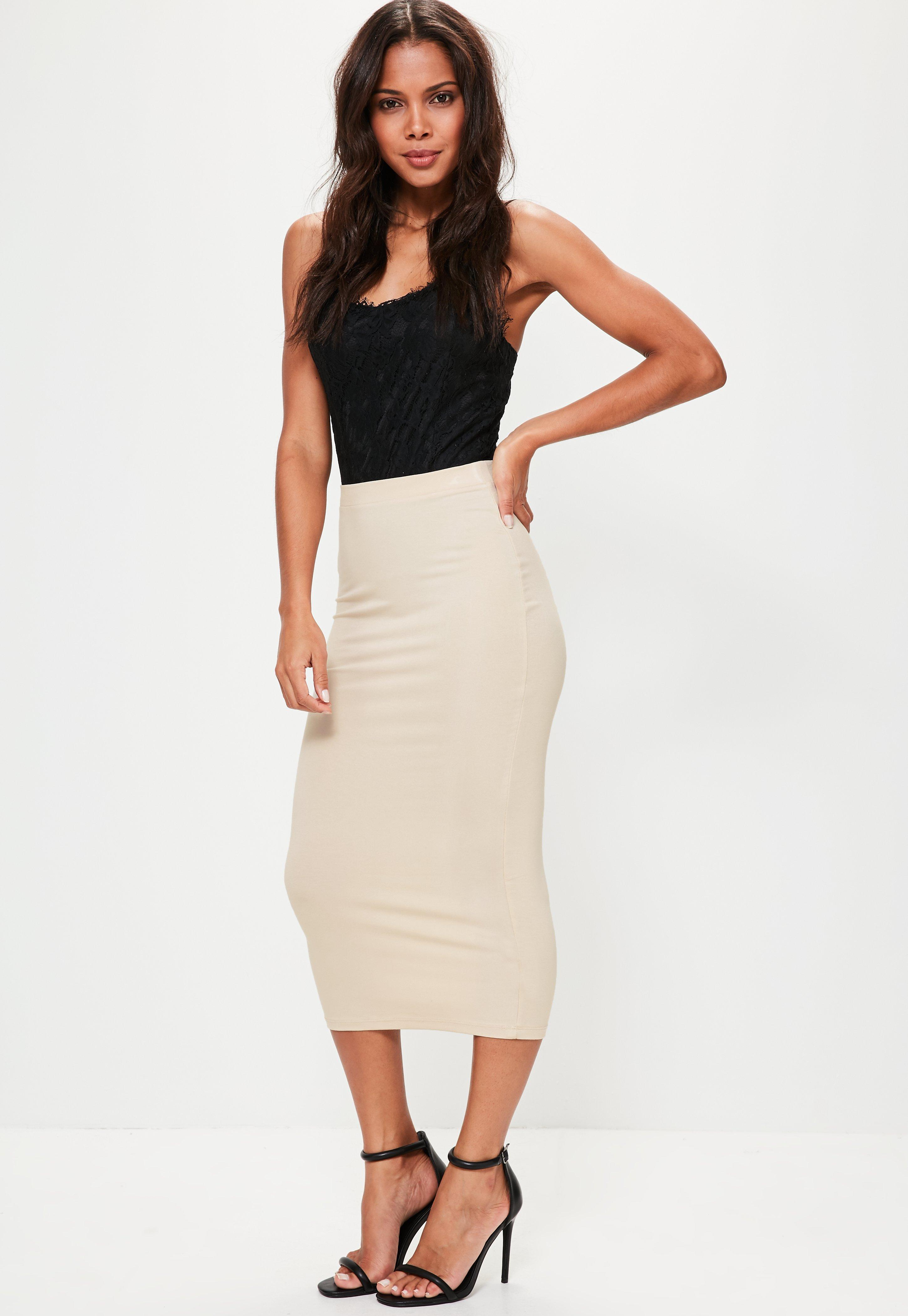 ac0993433 Lyst - Missguided Nude Jersey Longline Midi Skirt in Natural
