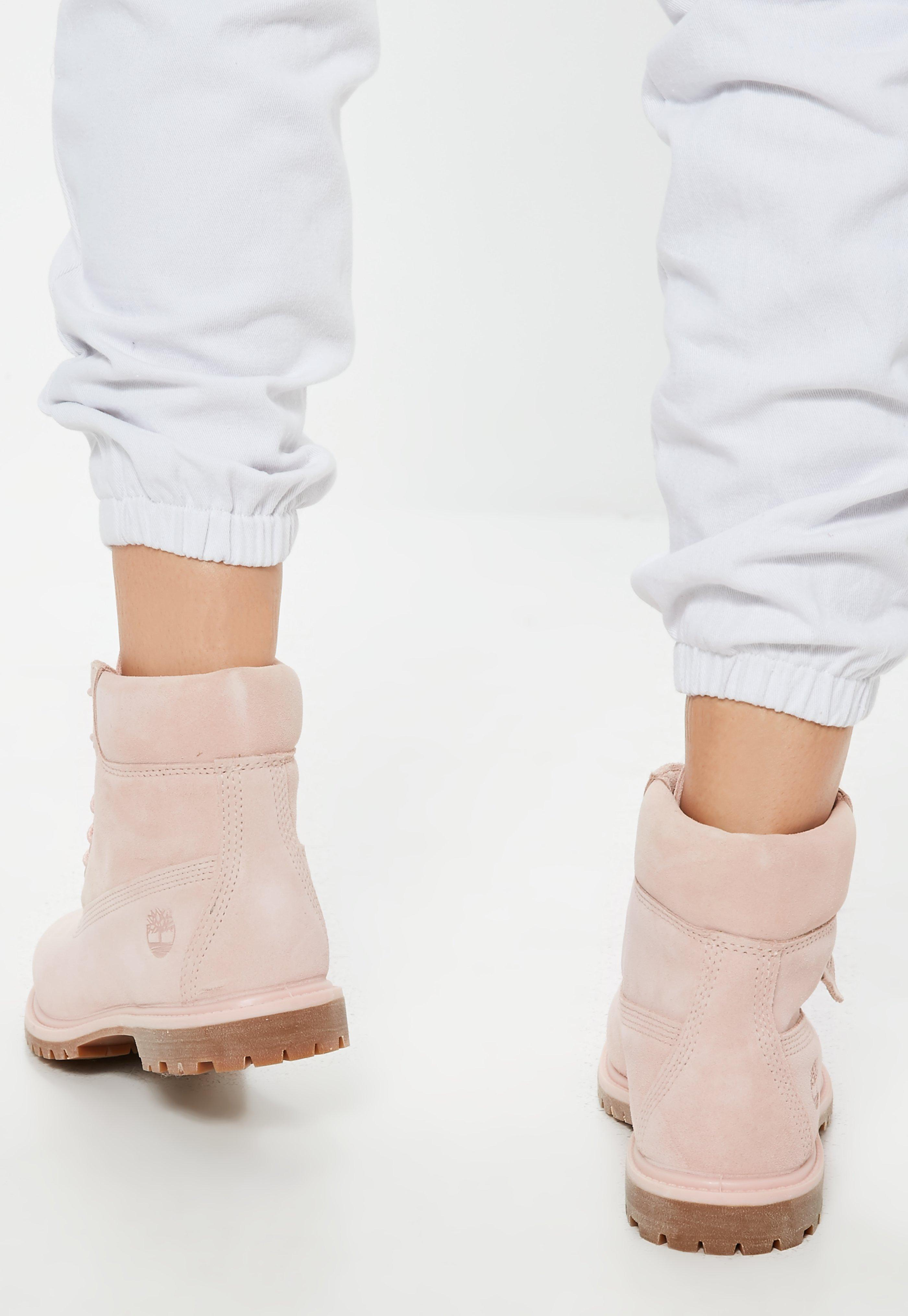4a6ddcf235d Missguided Timberland Pink 6inch Premium Suede Boots in Pink - Lyst