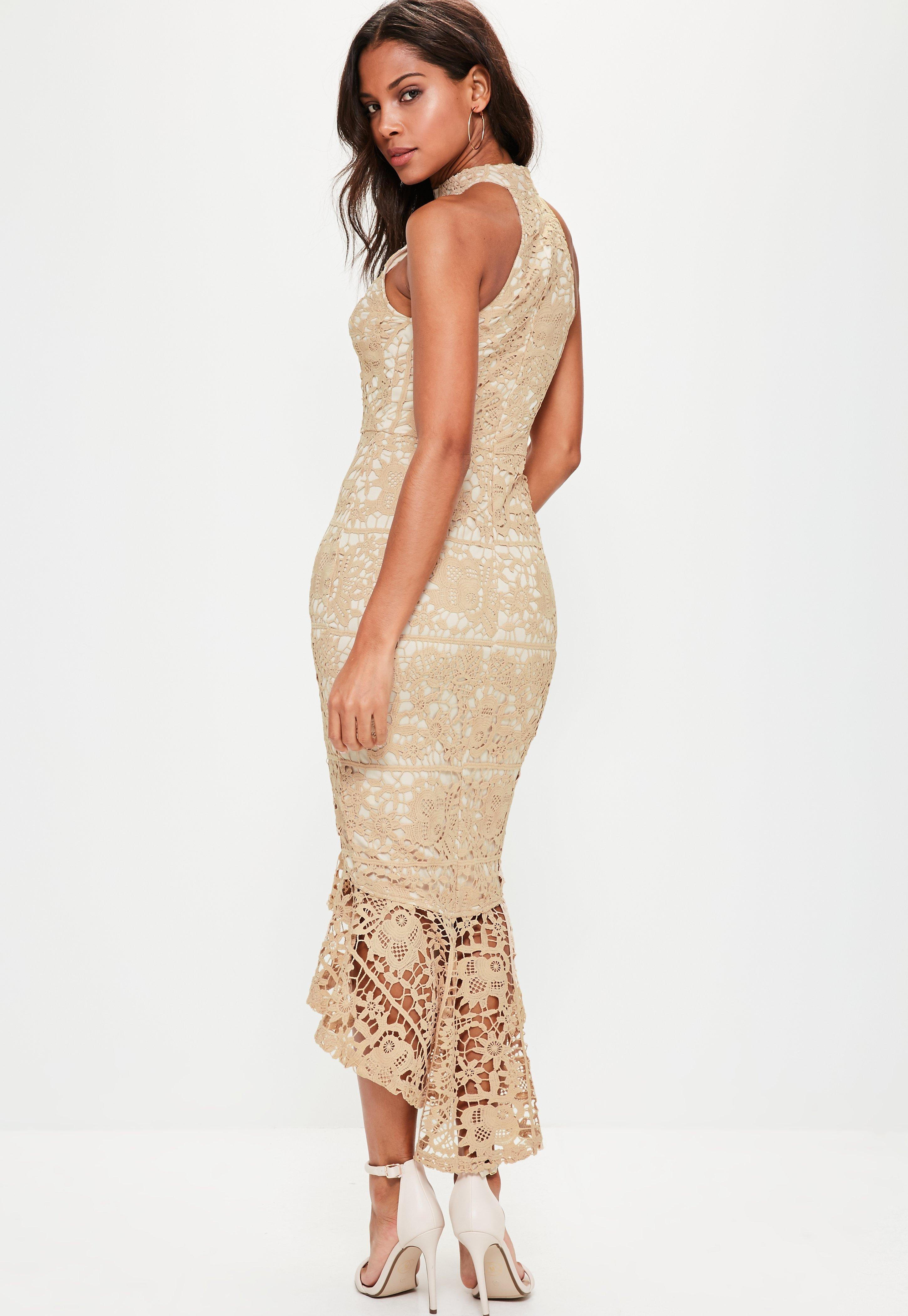 ed86f1edb4ab Missguided Nude Lace High Neck Fishtail Midi Dress in Natural - Lyst