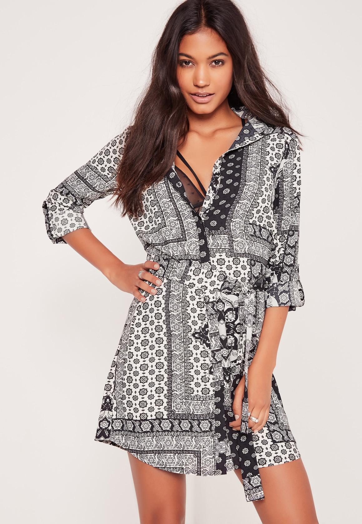 missguided floral bandana print shirt dress black lyst