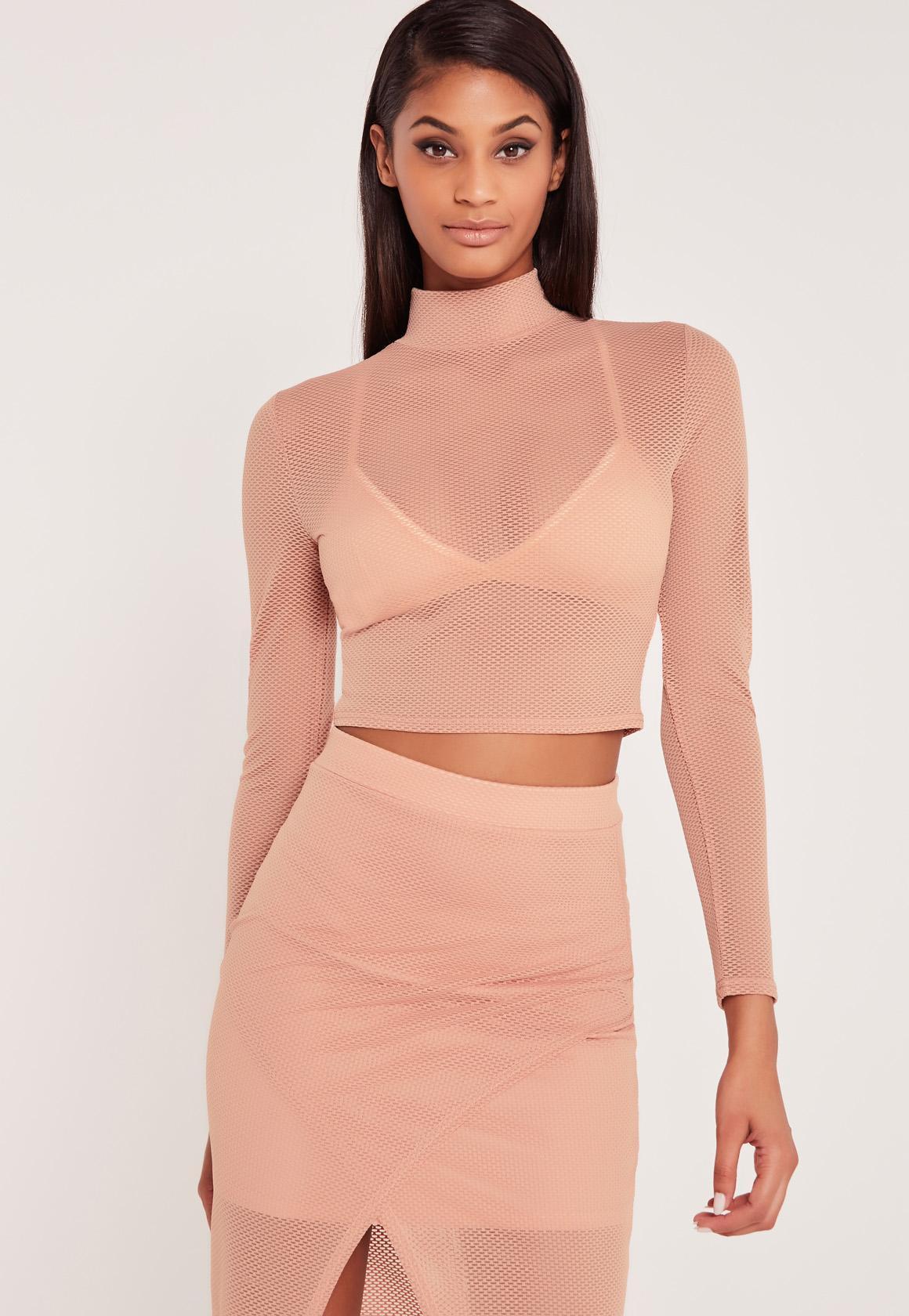 Lyst Missguided Carli Bybel Airtex Mesh Crop Top Pink In