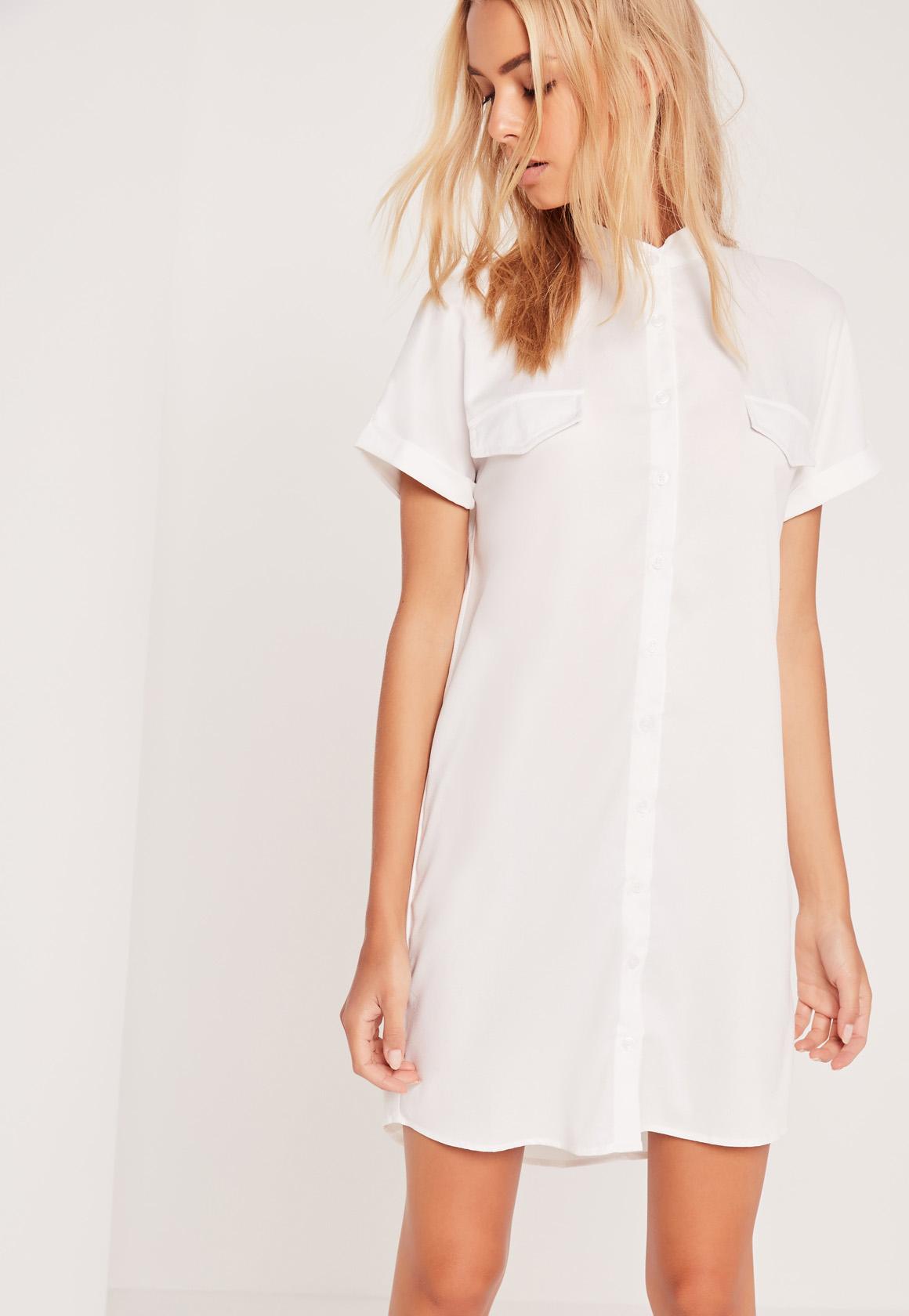 Missguided short sleeve pocket shirt dress white in white for Short sleeve white dress shirt