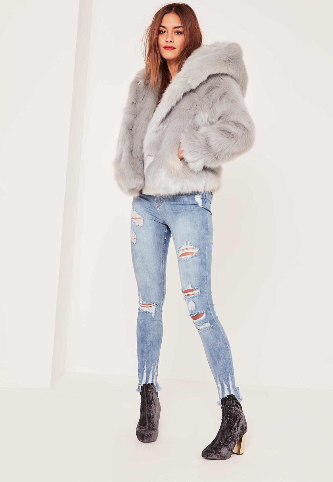 aab69f23f8 Missguided Caroline Receveur Grey Hooded Faux Fur Coat in Gray - Lyst
